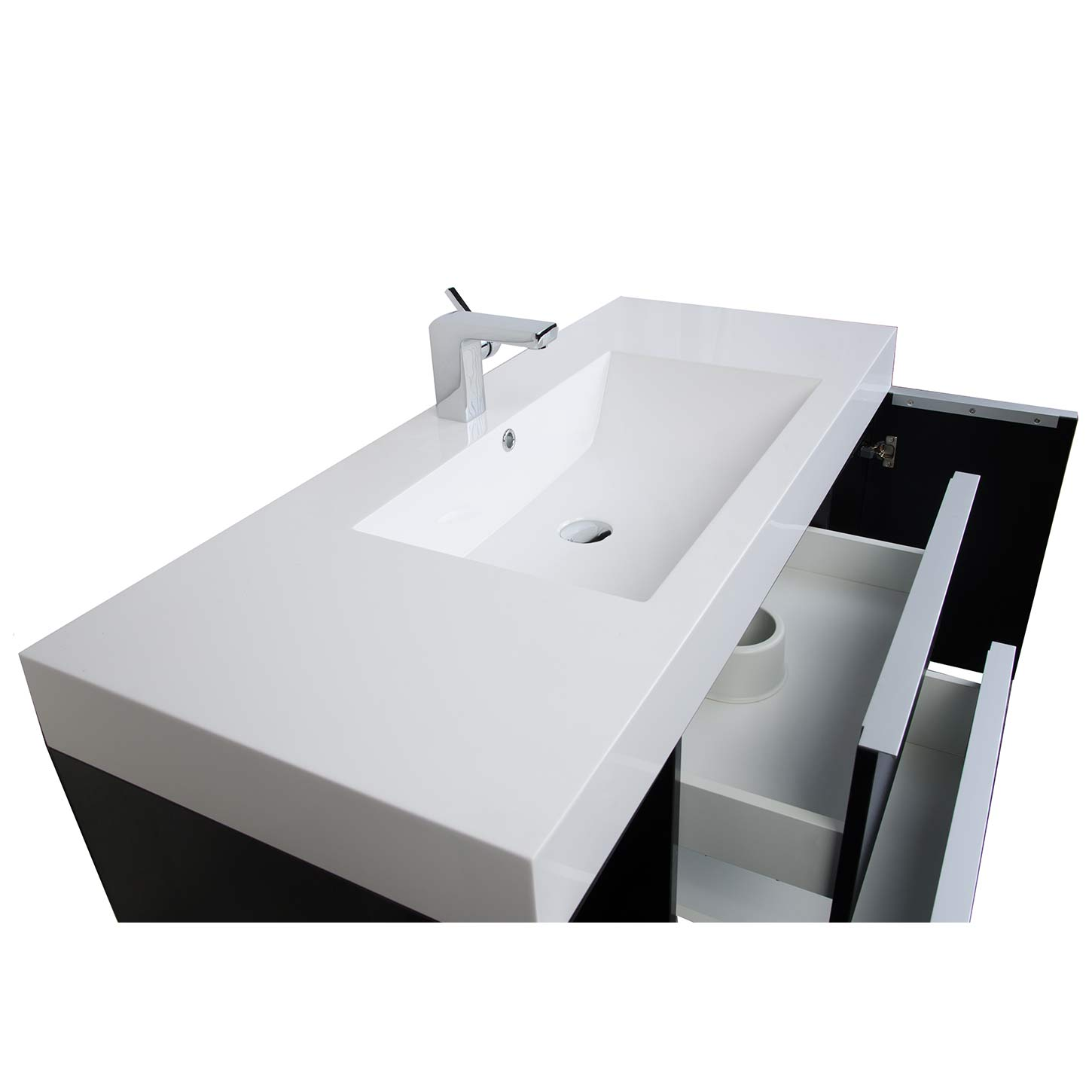 Wall Mount Contemporary Bathroom Vanity Black Rs