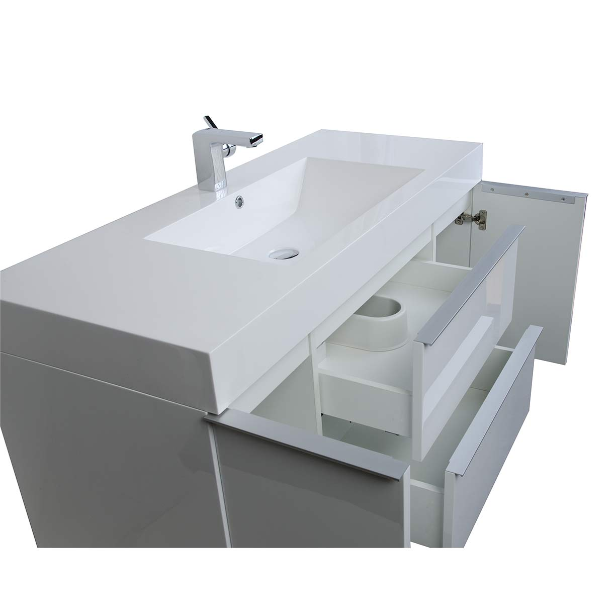 47.25 Inch Wall Mount Contemporary Bathroom Vanity Glossy White RS ...