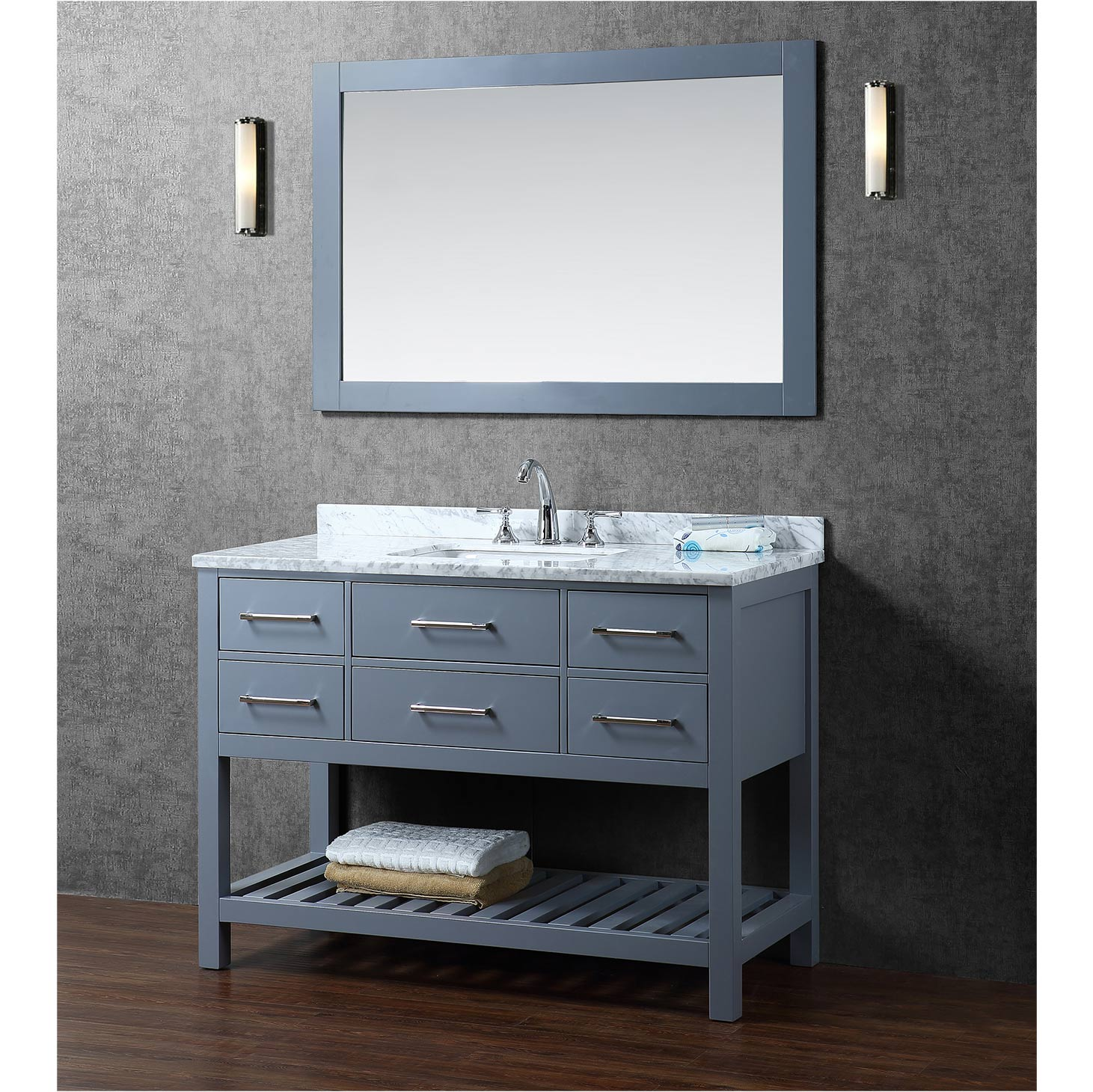 Buy antonia 48 inch solid wood single bathroom vanity in for Bathroom 48 inch vanity