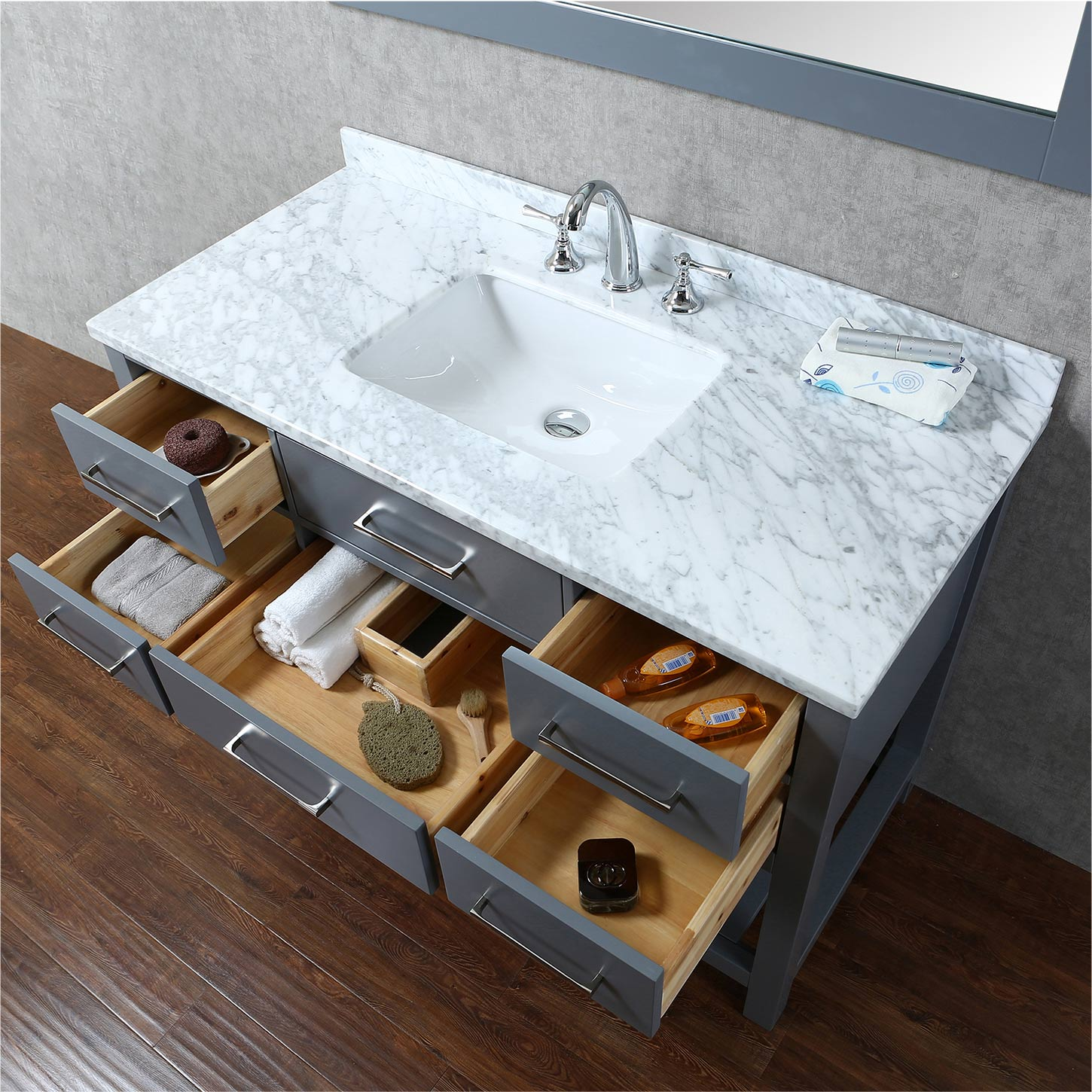 Buy Antonia Inch Solid Wood Single Bathroom Vanity In Charcoal - 48 inch grey bathroom vanity