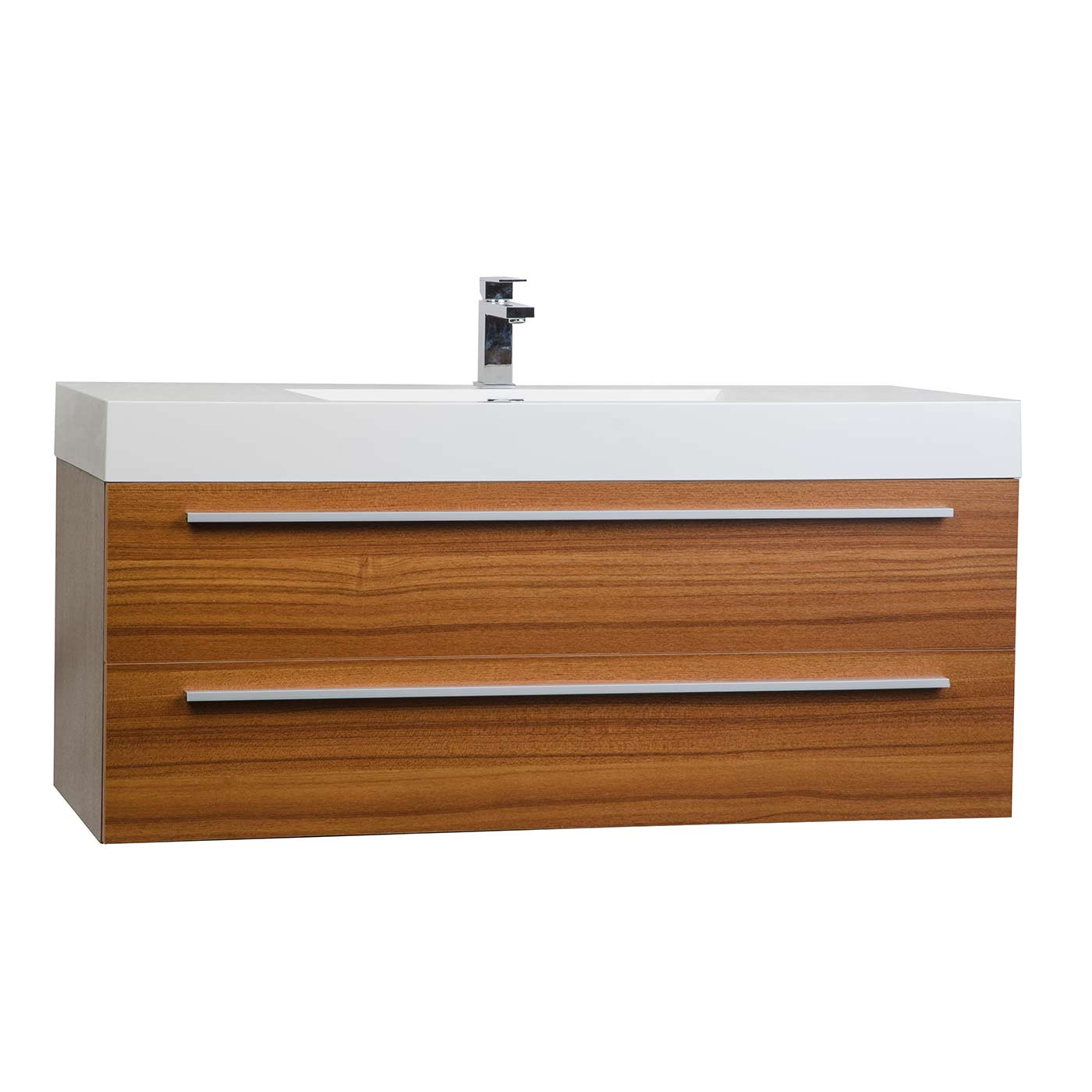 47 inch wall mount contemporary bathroom vanity in teak tn for Bathroom wall vanity cabinets