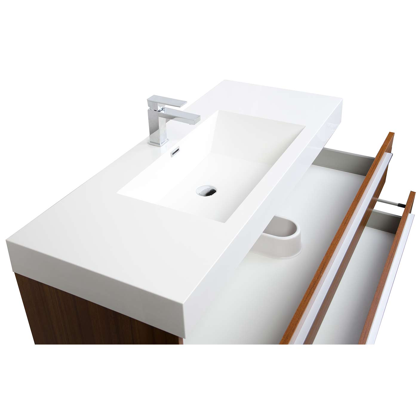 47 wall mount contemporary bathroom vanity walnut optional mirror tn