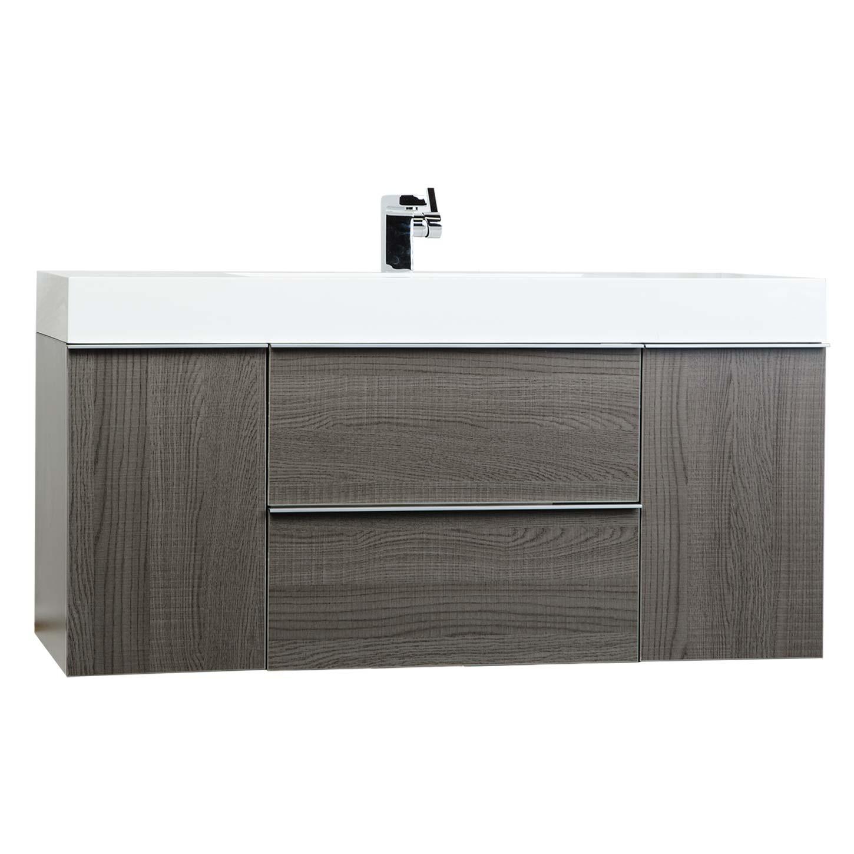 """47 25"""" Wall Mount Contemporary Bathroom Vanity Oak RS R1200 OAK Concep"""