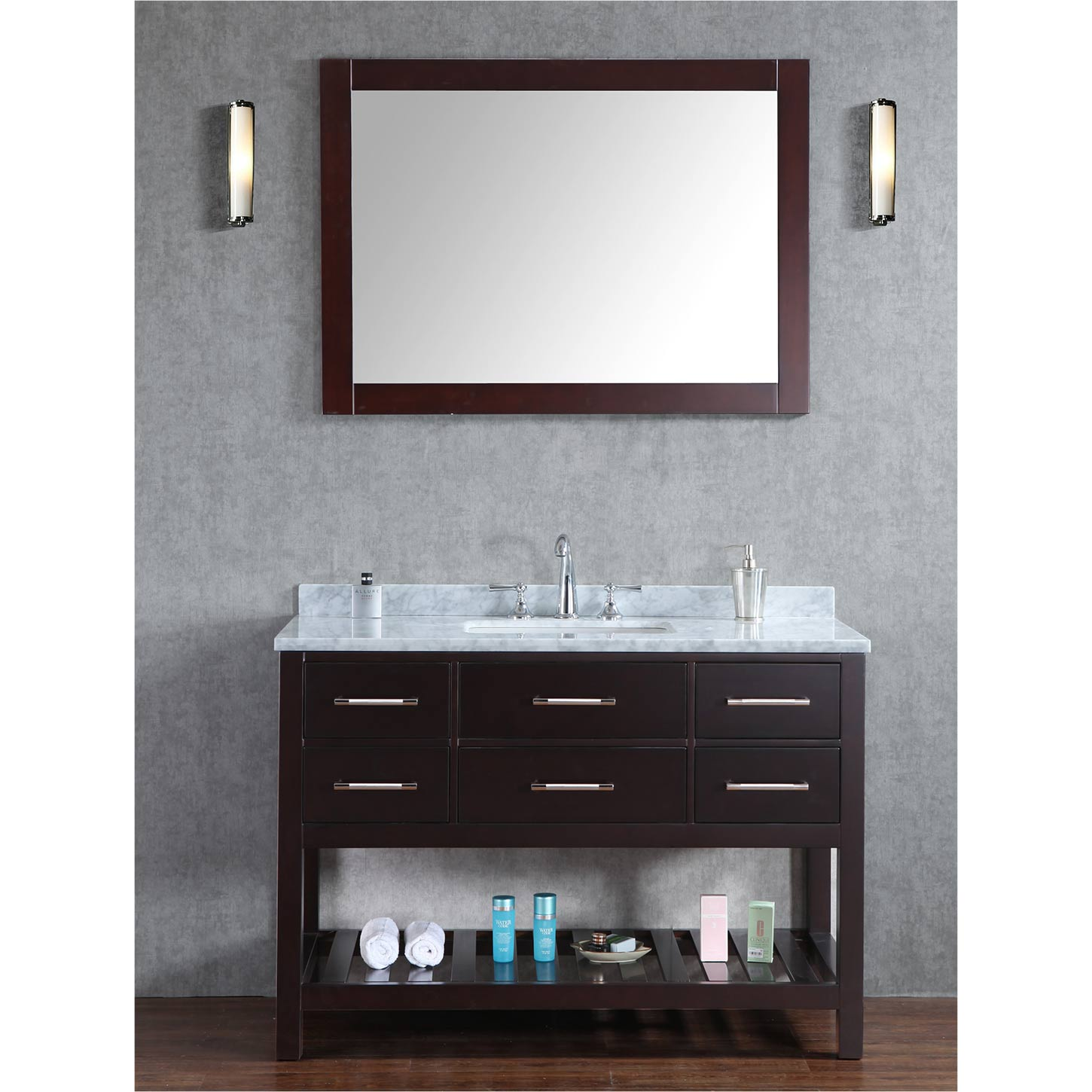 Bathroom Cabinets 48 Inch buy antonia 48 inch solid wood single bathroom vanity in espresso