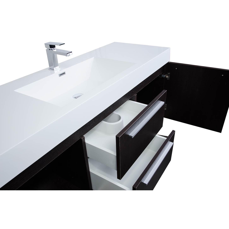 buy 59 inch wall mount contemporary bathroom vanity in espresso tn