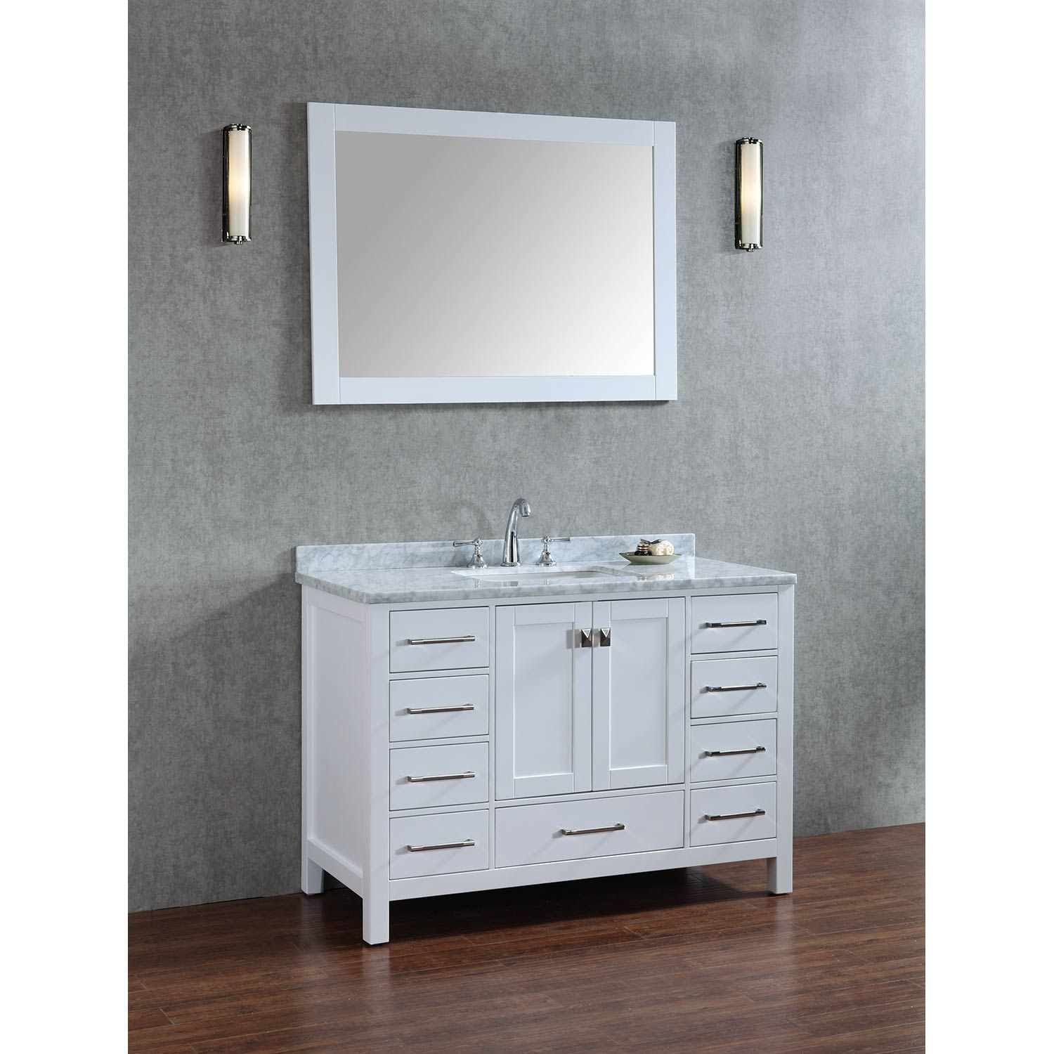Buy vincent 48 inch solid wood single bathroom vanity in white hm 13001 48 wmsq wt Solid wood bathroom vanities cabinets