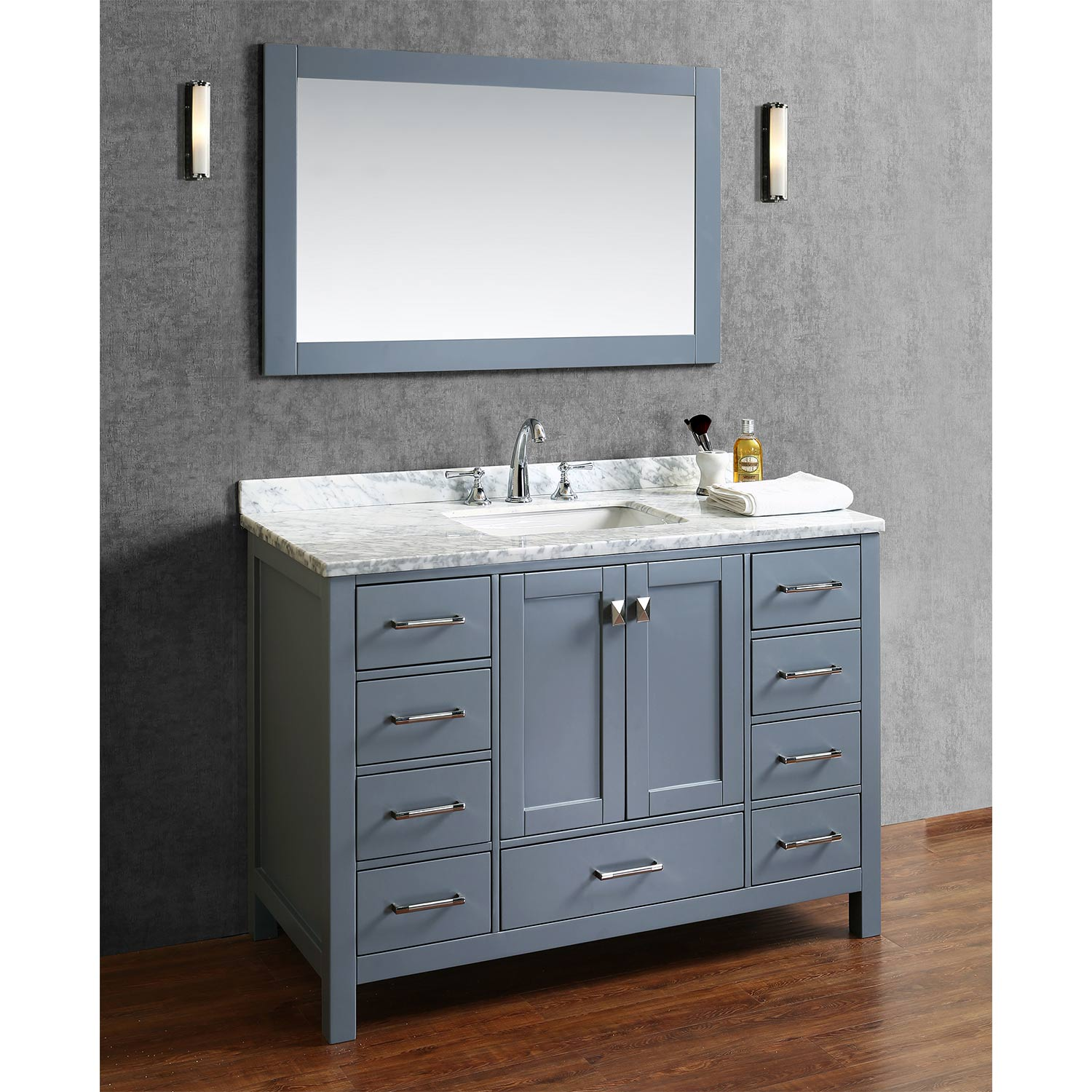 Buy Vincent 48 Inch Solid Wood Single Bathroom Vanity In Charcoal Grey Hm 13001 48 Wmsq Cg