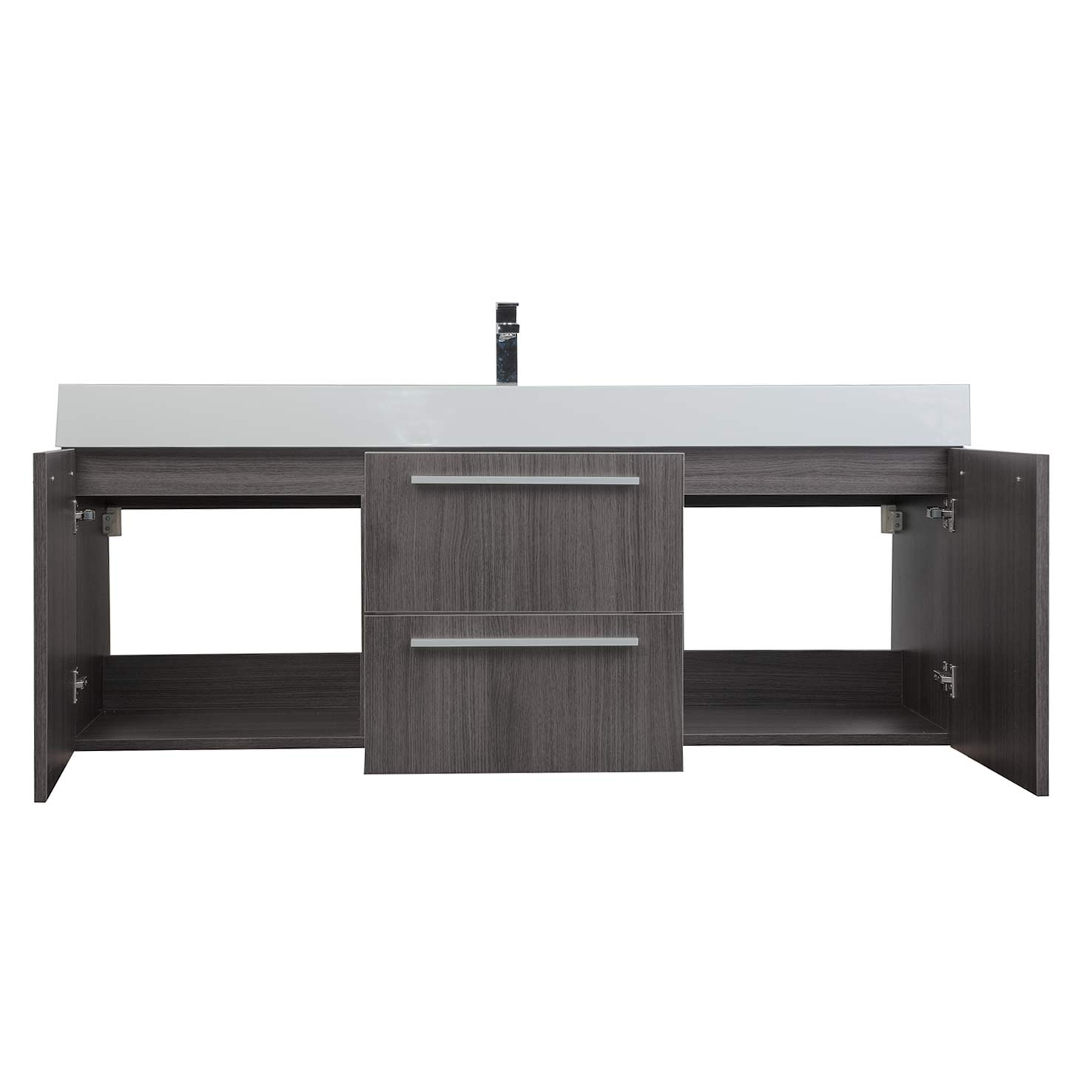 Bathroom Single Vanity Buy 59 Inch Wall Mount Contemporary Bathroom Vanity In Grey Oak Tn