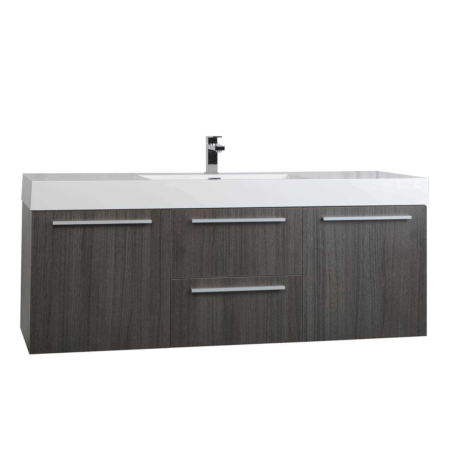 Buy 59 inch wall mount contemporary bathroom vanity in for Modern vanity cabinets