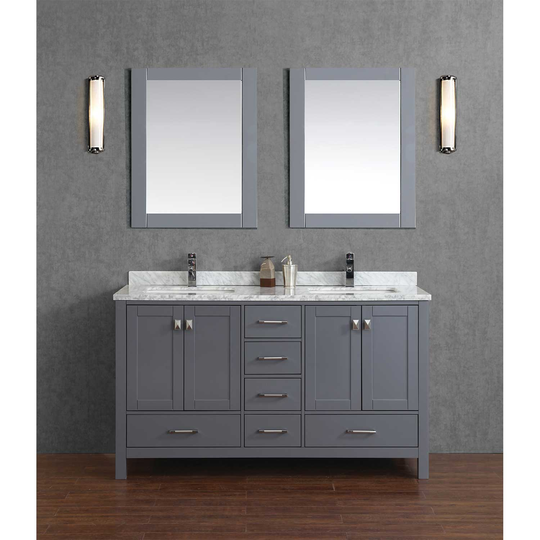 Buy Vincent 60 Solid Wood Double Bathroom Vanity in Charcoal Grey