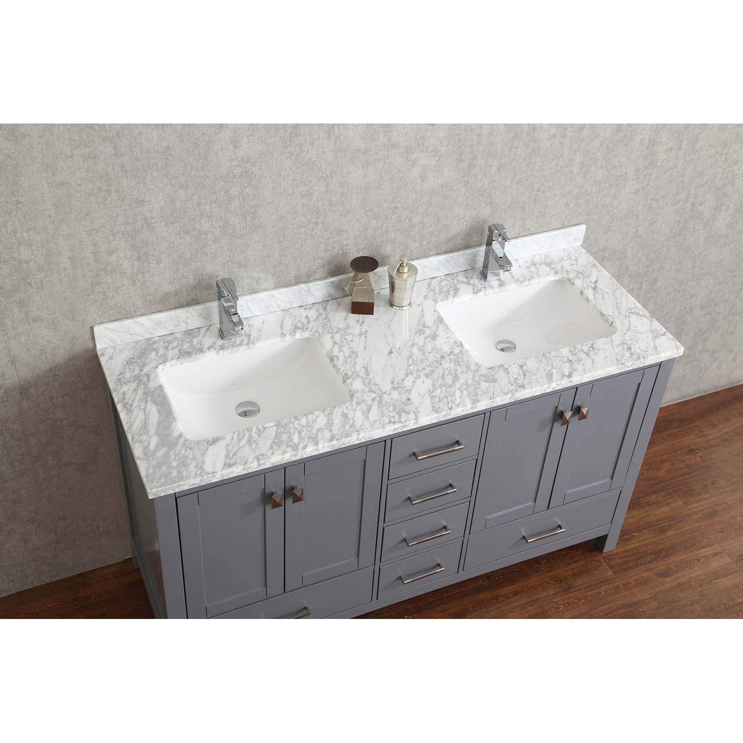 Buy vincent 60 solid wood double bathroom vanity in charcoal grey hm 13001 60 wmsq cg for Solid wood double sink bathroom vanity
