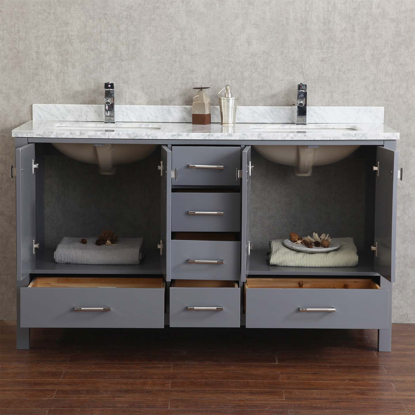 Gentil Vicent 60 Solid Wood Double Bathroom Vanity In Charcoal Grey HM 13001 WMSQ  CG Buy Vincent
