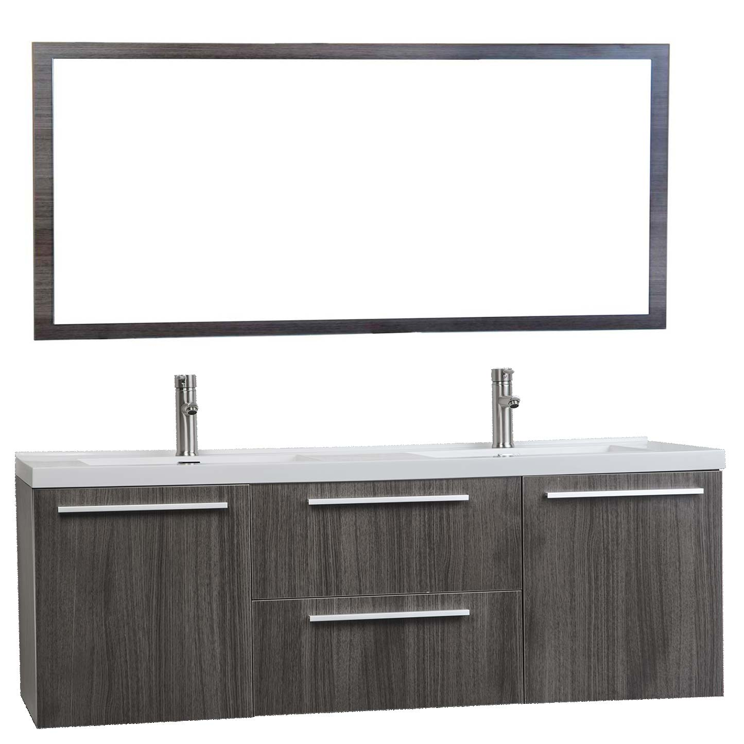 Buy 59 Inch Wall Mounted Modern Double Vanity in Grey Oak TN-NT1500D Bathroom Vanities San Jose on bathroom countertop materials, bathroom tubs, bathroom lights, bathroom cabinets, bathroom backsplash, bathroom sinks, bathroom tile, bathroom consoles, bathroom hand towel holder, bathroom flooring, bathroom remodel, bathroom exhaust fans, bathroom ideas, bathroom design, bathroom colors, bathroom window treatments, bathroom makeovers, bathroom wainscoting, bathroom toilets, bathroom logo,