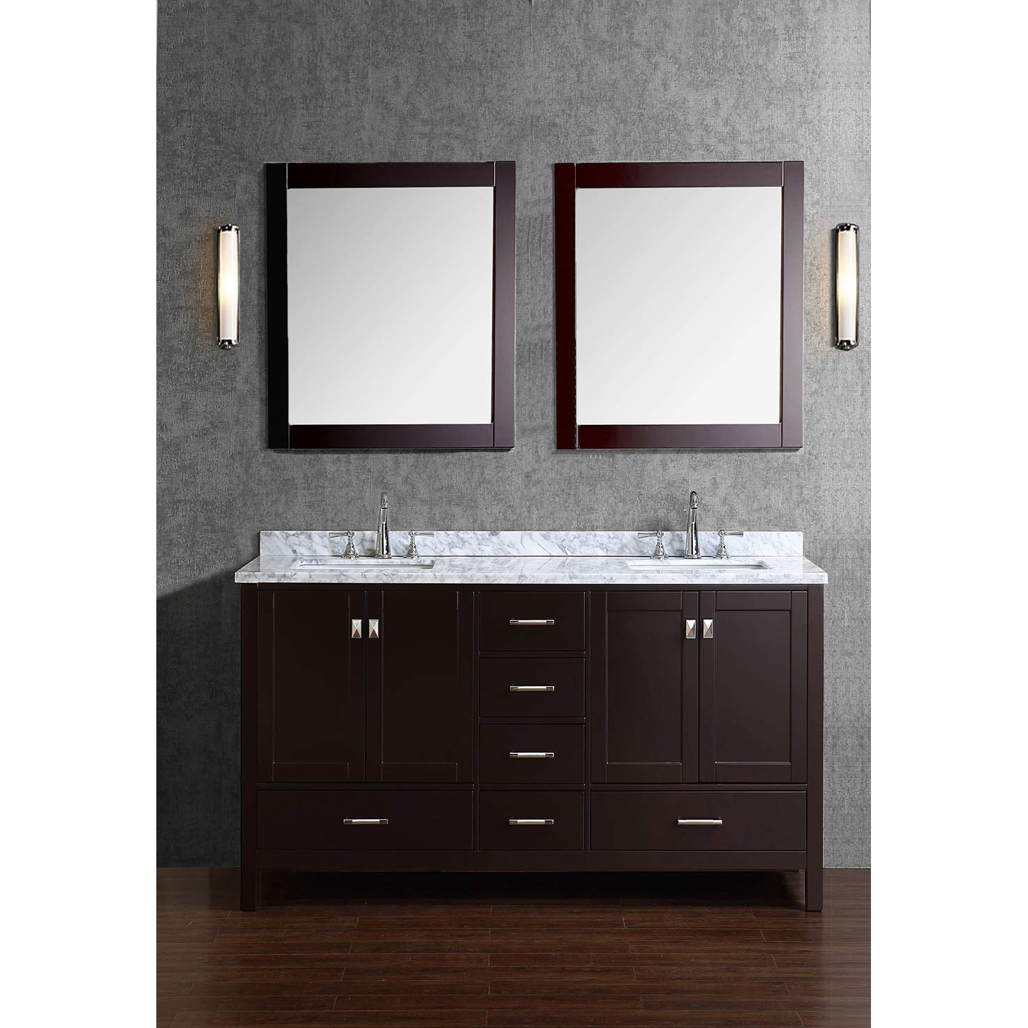 Buy vnicent 60 solid wood double bathroom vanity in espresso hm 13001 60 wmsq esp for Solid wood double sink bathroom vanity