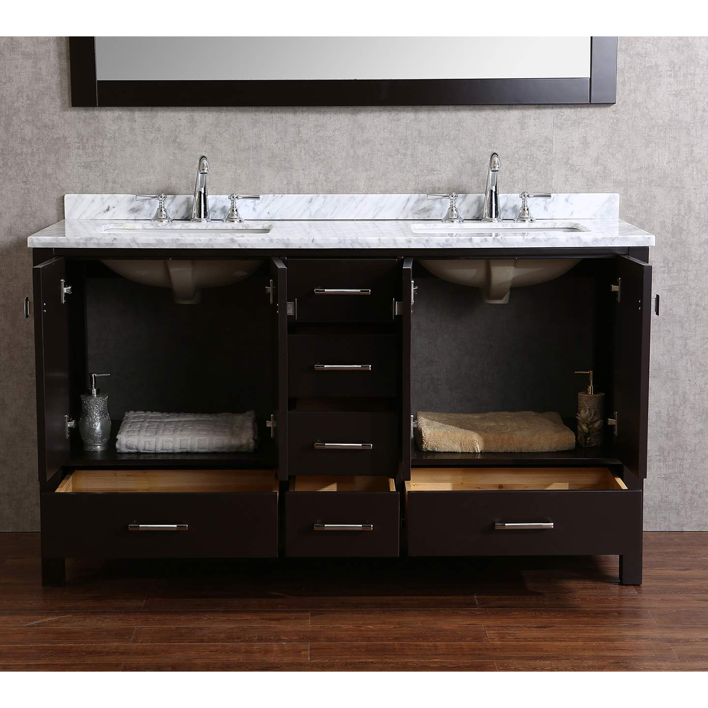 Buy Vnicent 60 Solid Wood Double Bathroom Vanity In Espresso Hm 13001 60 Wmsq Esp