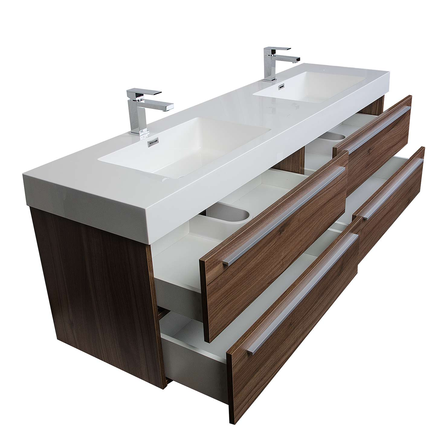 Buy andria 71 inch contemporary double wall mounted walnut for 71 inch double sink bathroom vanity