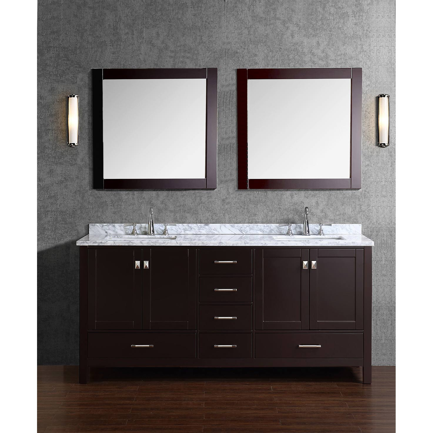 Buy Vincent 72 Inch Solid Wood Double Bathroom Vanity In Espresso Hm 13001 72 Wmsq Esp
