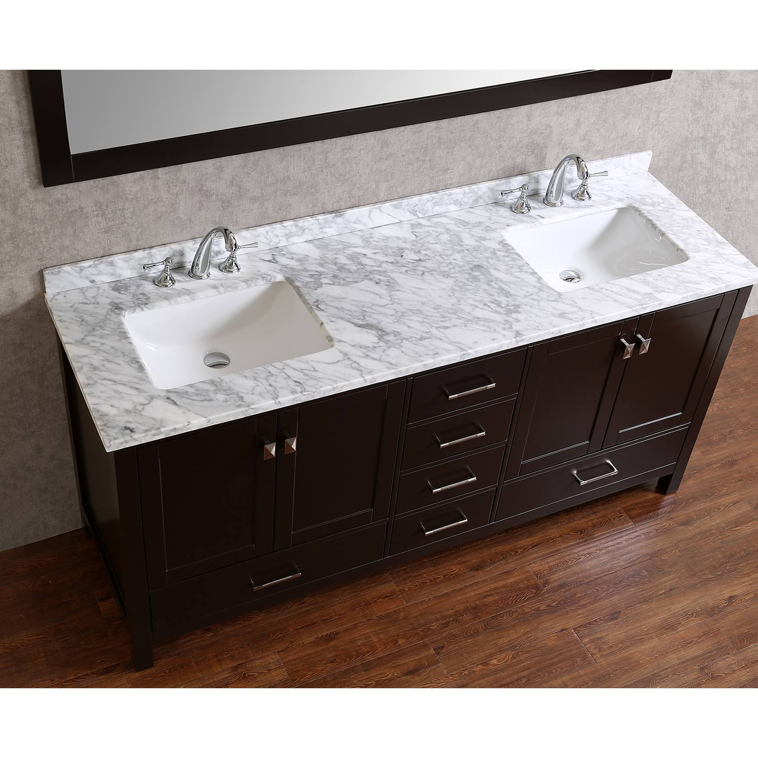 Buy vincent 72 inch solid wood double bathroom vanity in for Bathroom 72 inch vanity