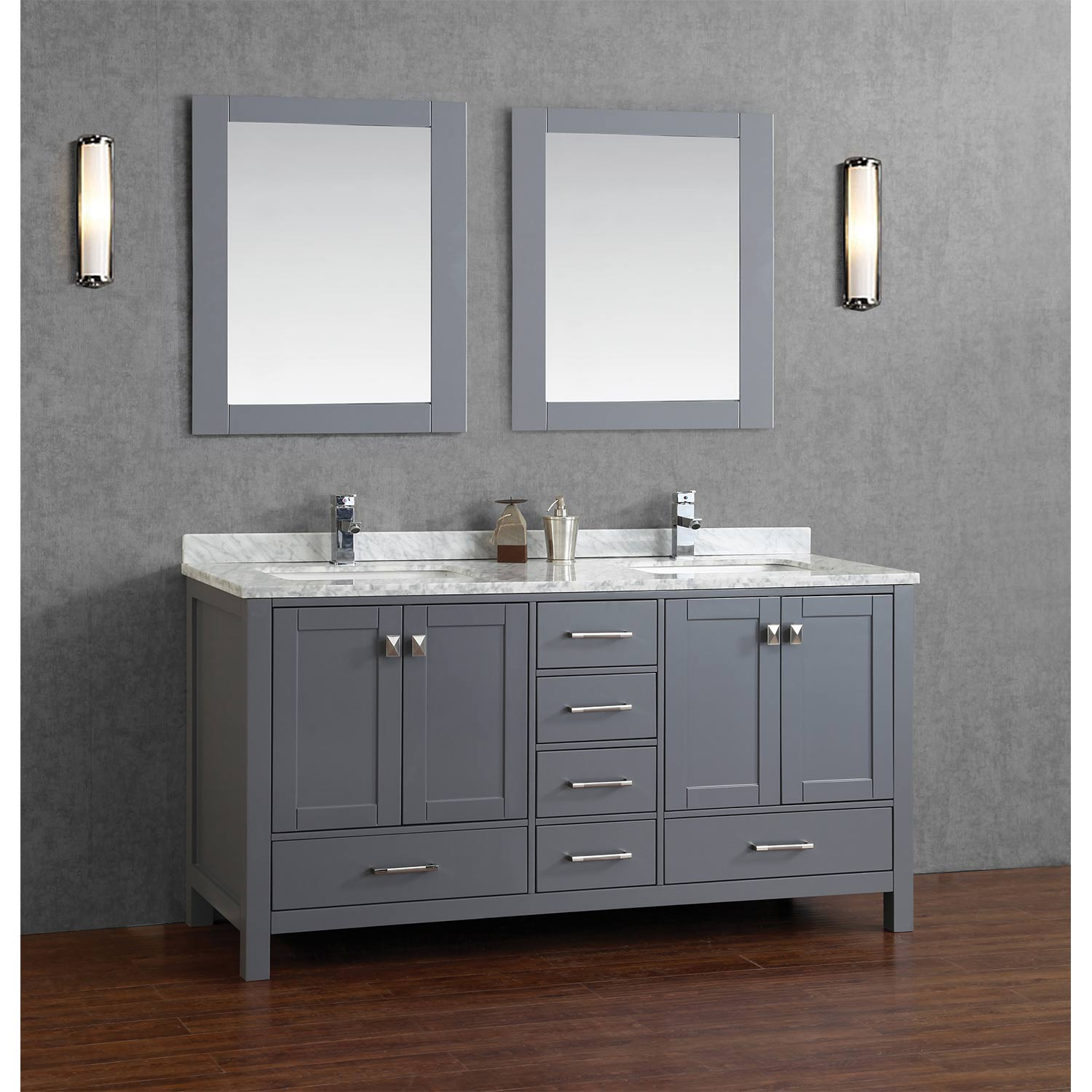 Buy vincent 72 inch solid wood double bathroom vanity in charcoal grey hm 13001 72 wmsq cg for Pictures of bathrooms with double sinks
