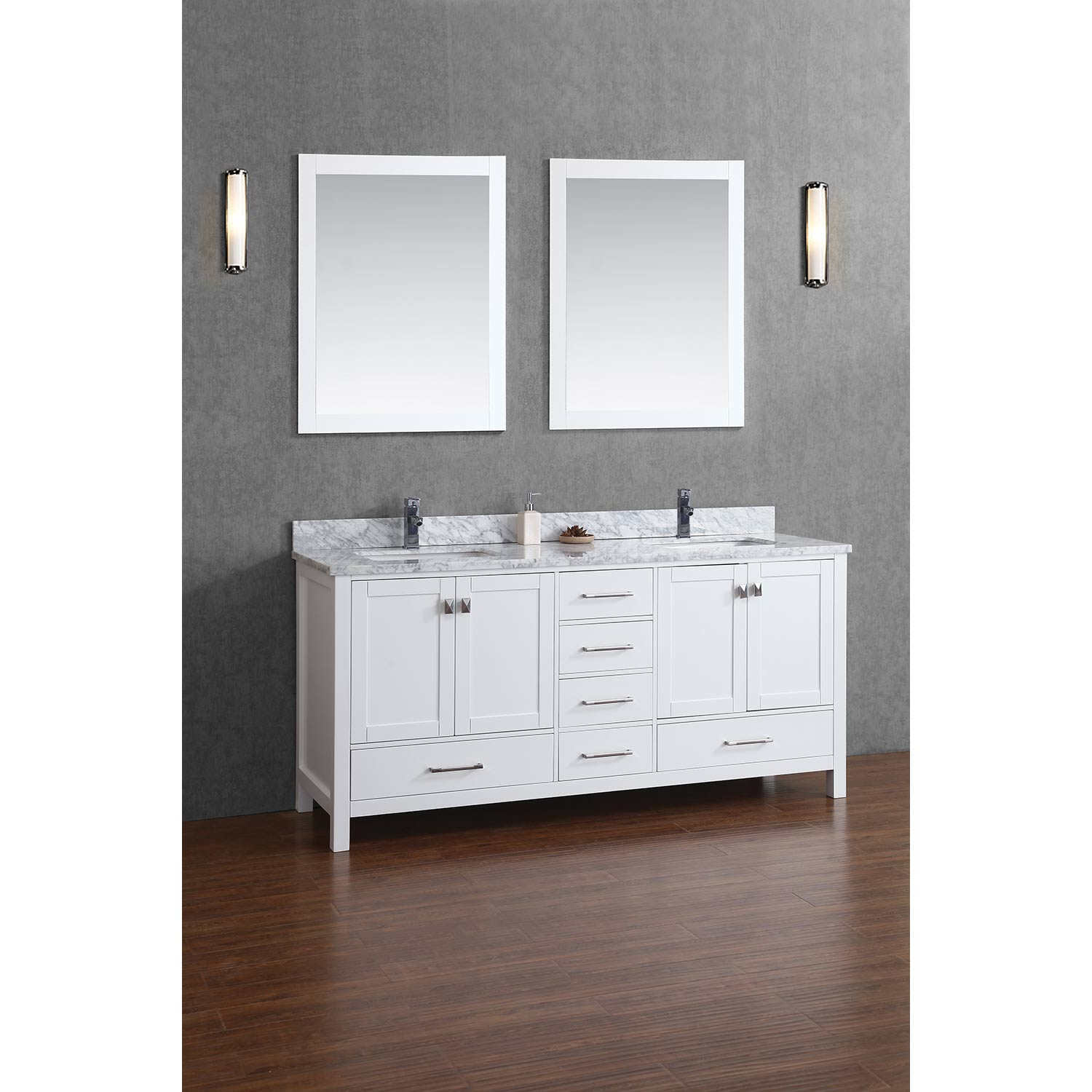 Buy Vincent 72 Inch Solid Wood Double Bathroom Vanity In White HM 13001 72 WM