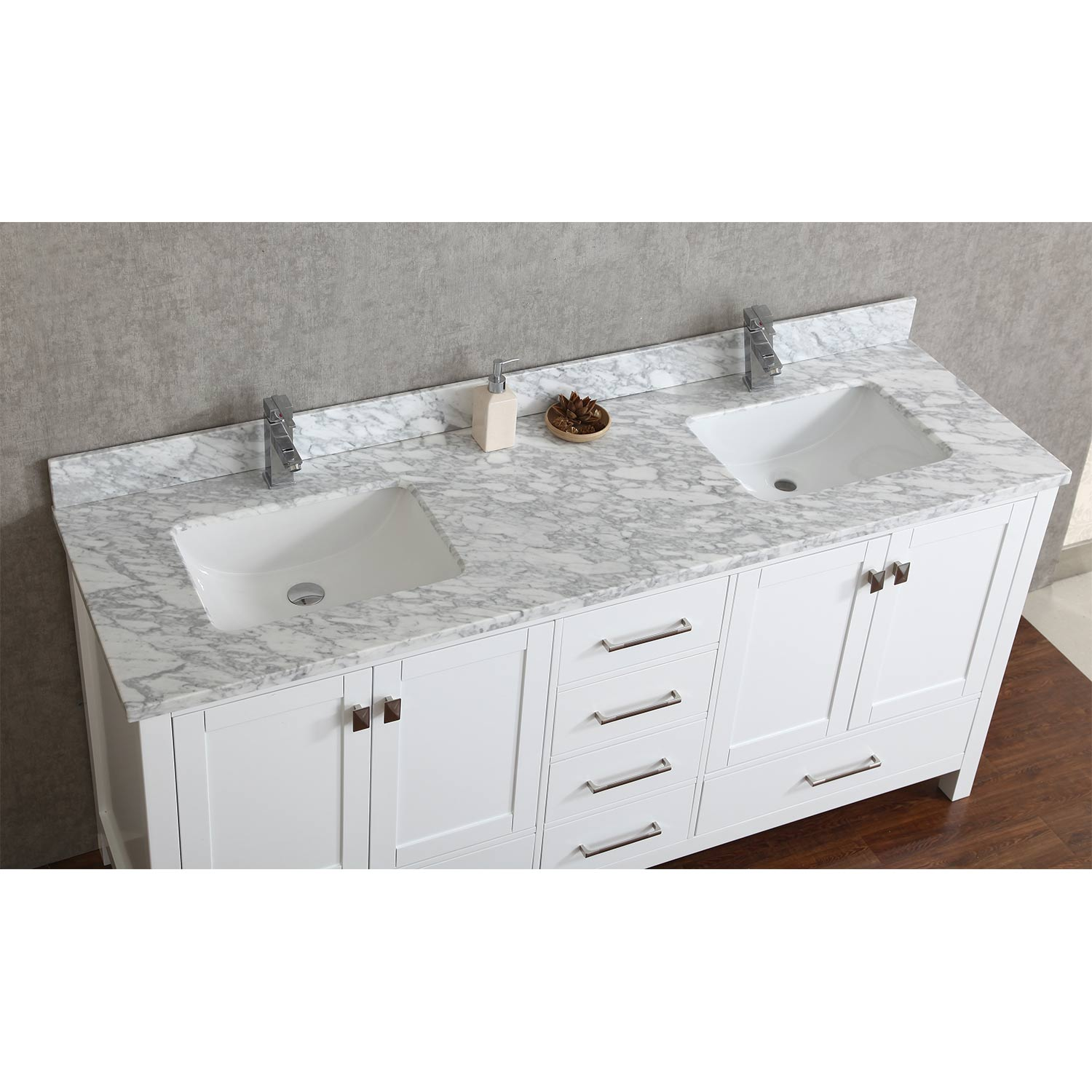 Vincent 60  Solid Wood Double Bathroom Vanity in White HM 13001 WMSQ WT Buy 72 Inch