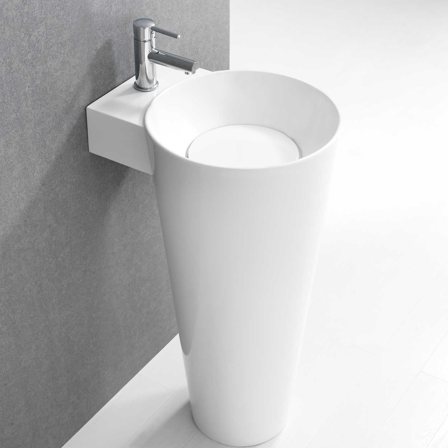 Buy Vetto Free Standing Solid Surface Resin tone Modern Pedestal