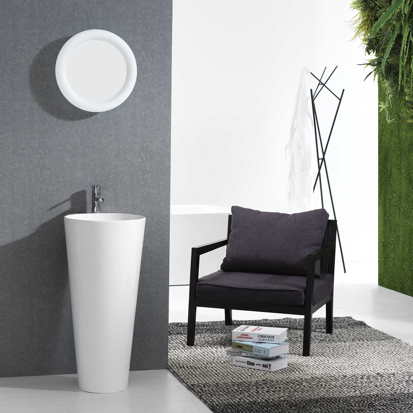 Buy Vetto Free Standing Solid Surface Resin tone Modern Pedestal ...