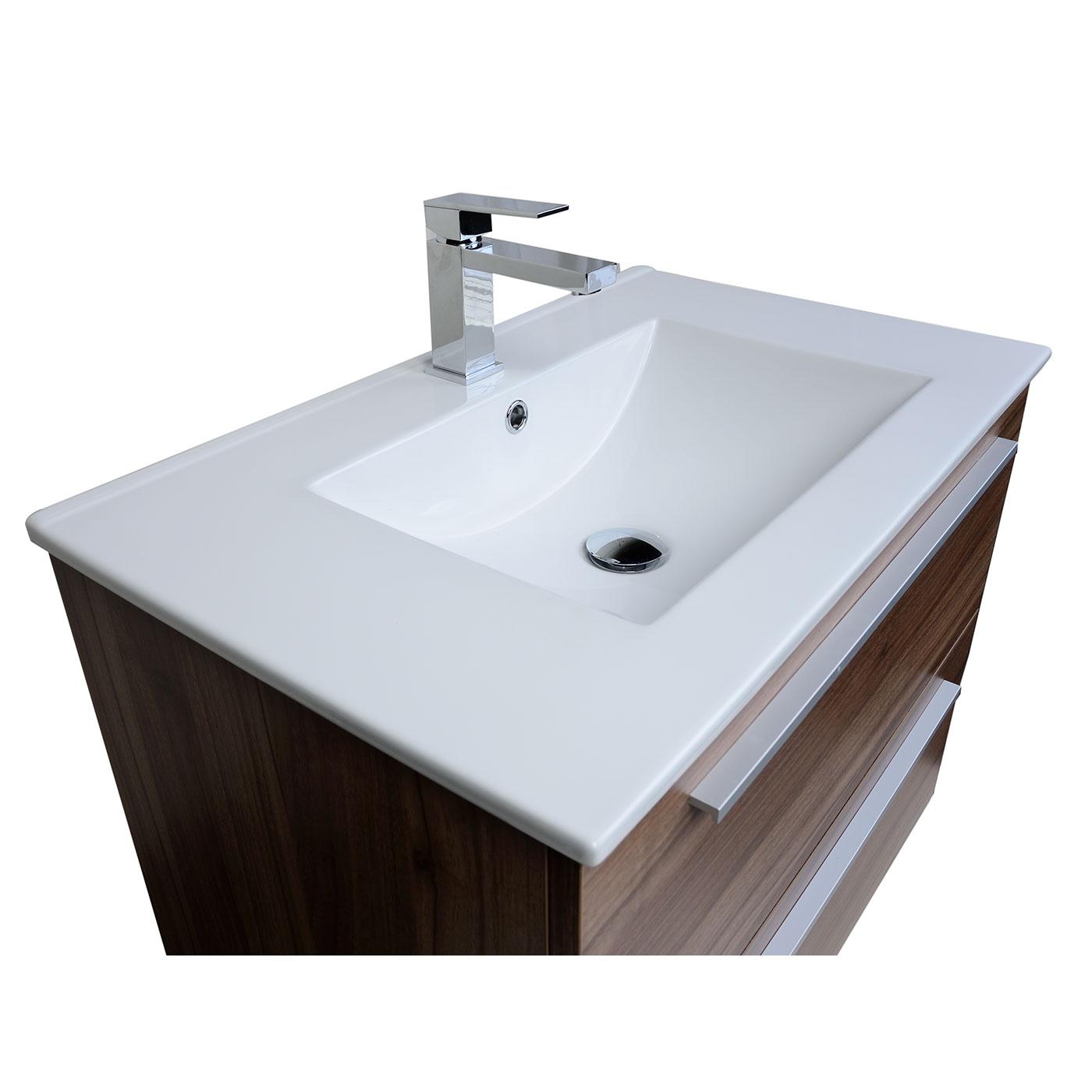 "Buy Nola 29 5"" Wall Mount Modern Bathroom Vanity Walnut TN T750C WN on C"