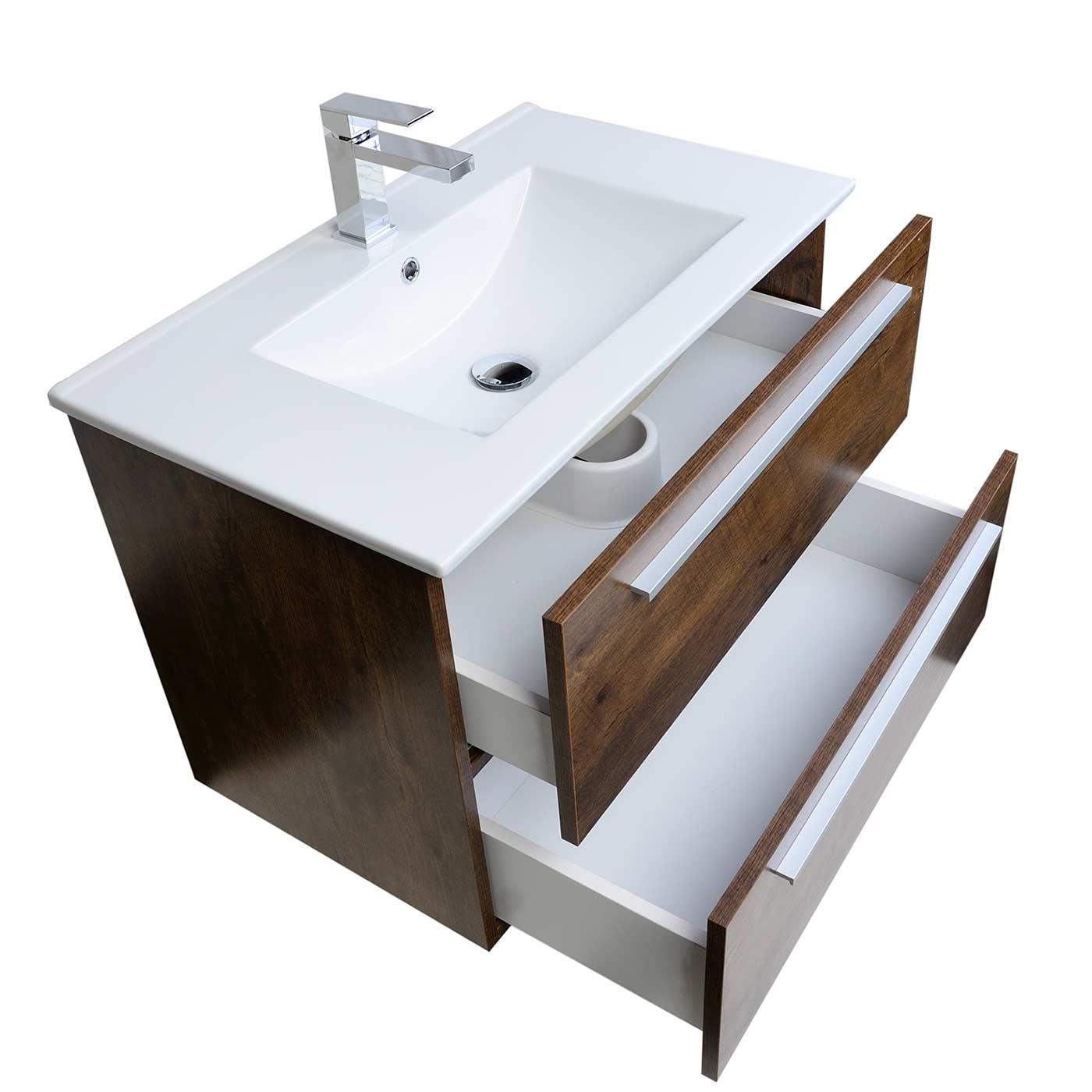 wall mounted bathroom vanity. Modern Wall Mount Bathroom Vanity Cbi Walnut RS-DM800-WN Mounted