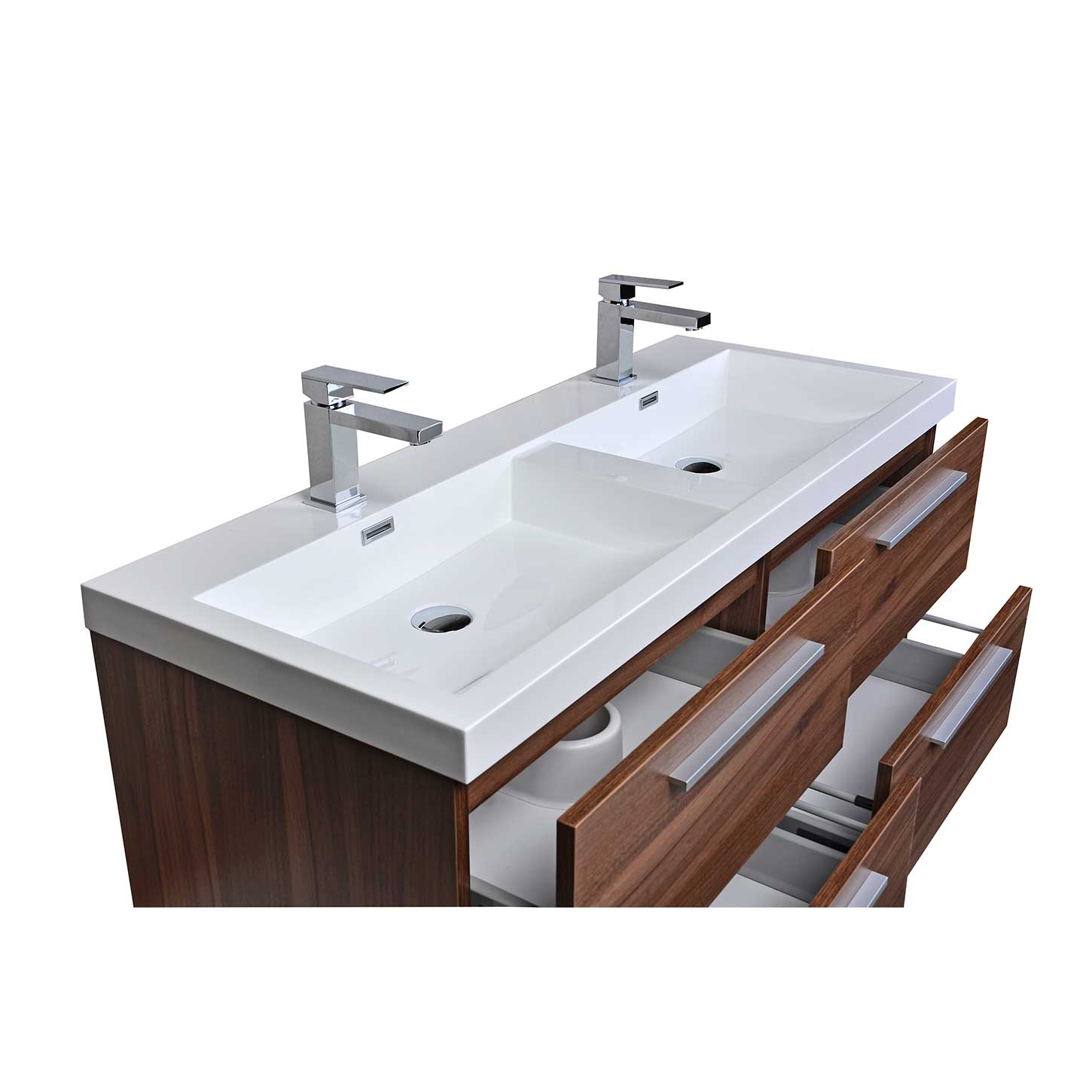 buy 47 inch wall mounted modern double bathroom vanity in walnut tnt1200dwn on