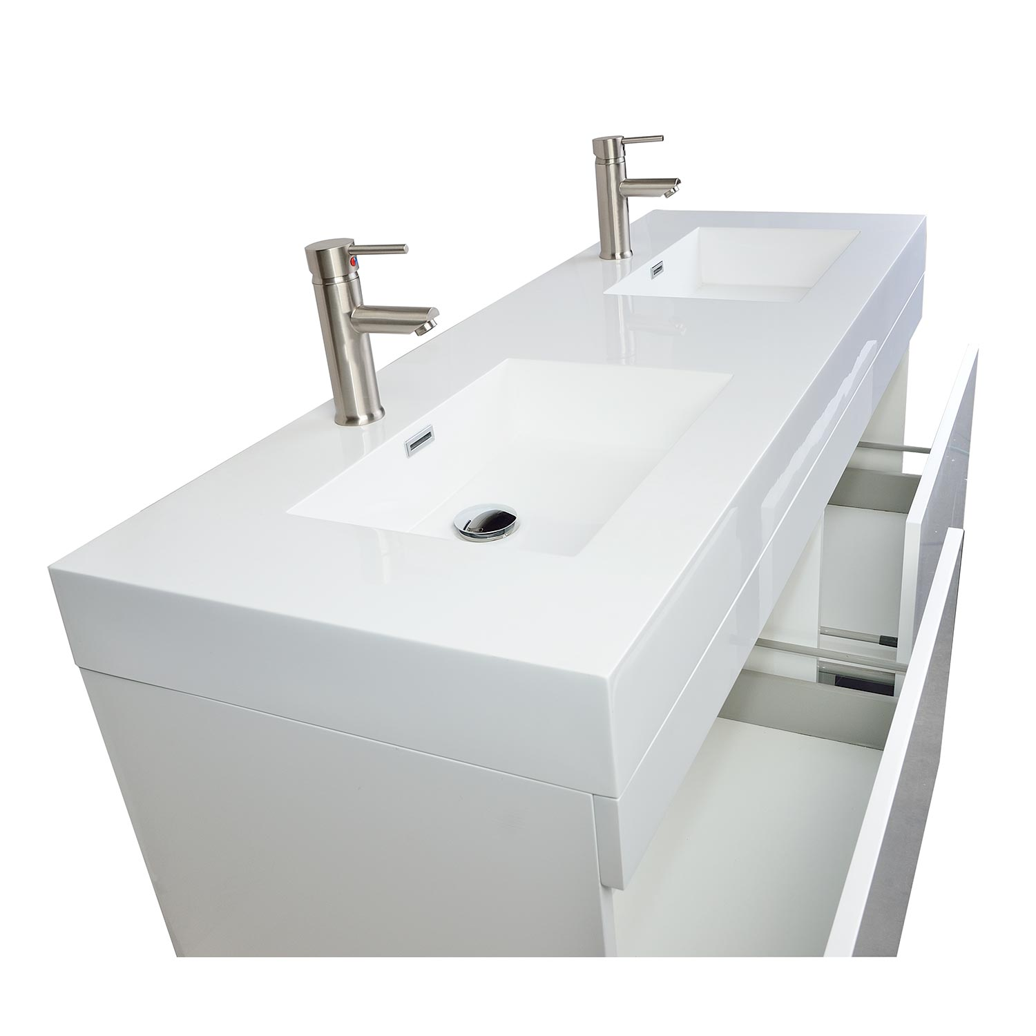 Buy 57 Inch Modern Double Sink Vanity Set In Glossy White Black Tn T1440 Hgw