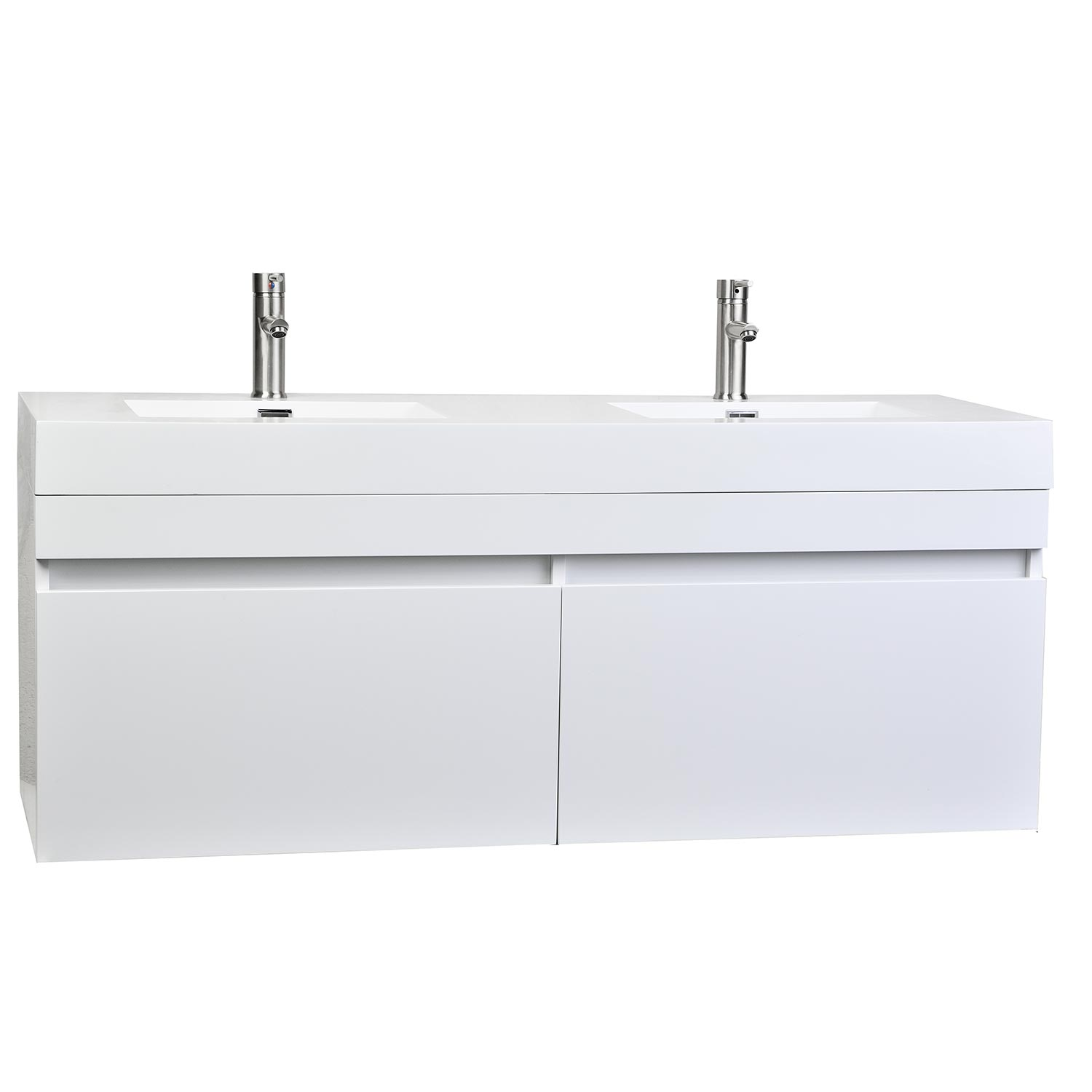 Buy 57 inch modern double sink vanity set in glossy white - Modern double sink bathroom vanities ...