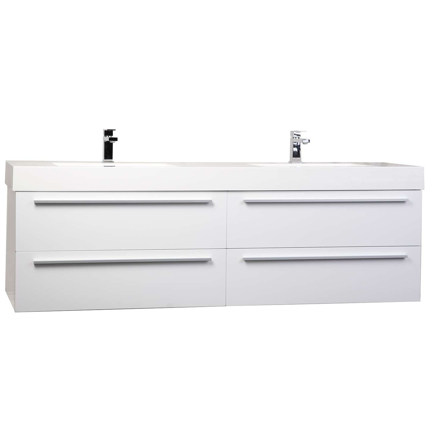 Buy andria 71 inch contemporary double wall mounted glossy - Wall mounted bathroom cabinets white ...