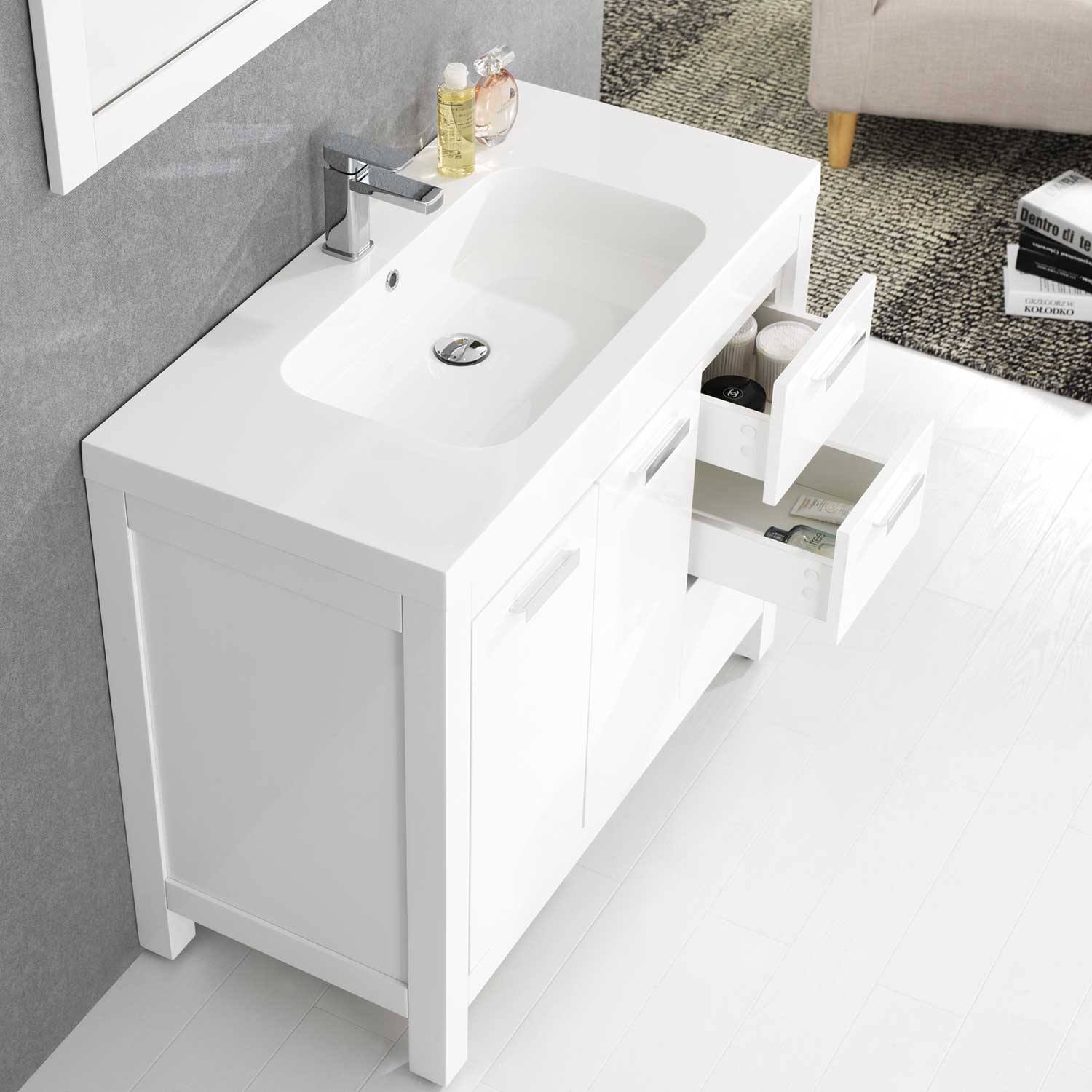 39 5 modern bathroom vanity glossy white finish optional mirror rs