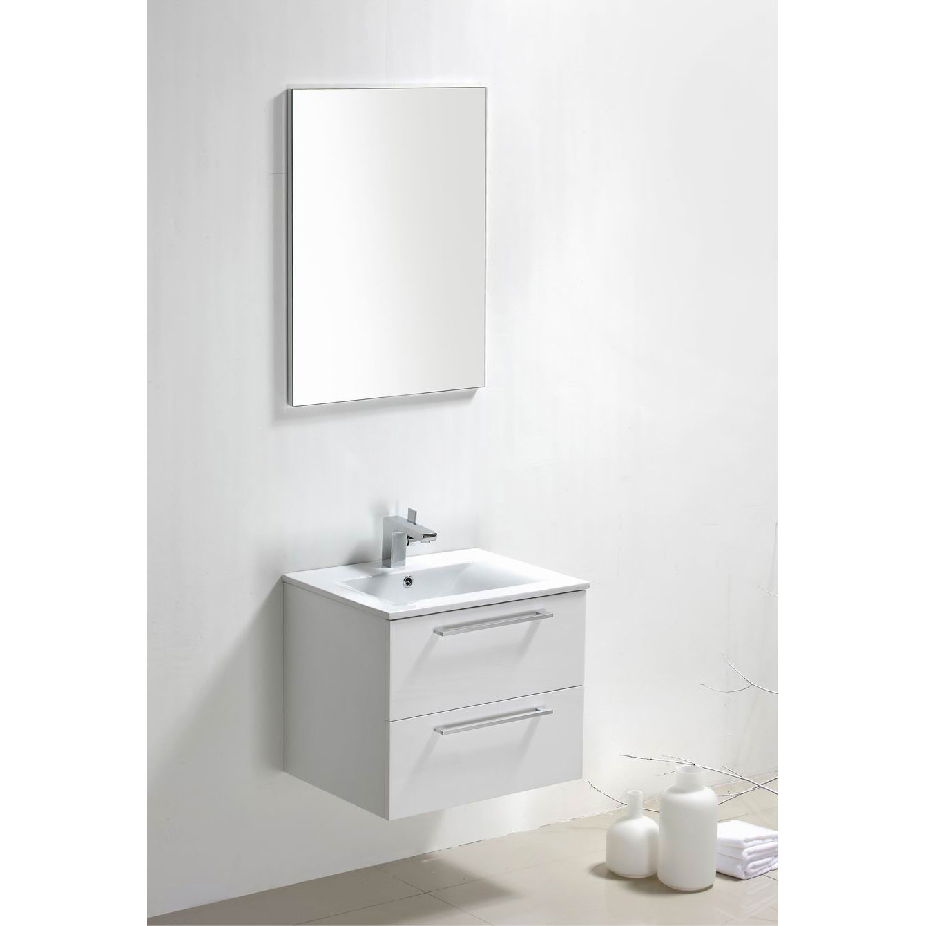 Buy Caen 24 Inch Wall Mount Modern Bathroom Vanity Set High Glossy White RS D