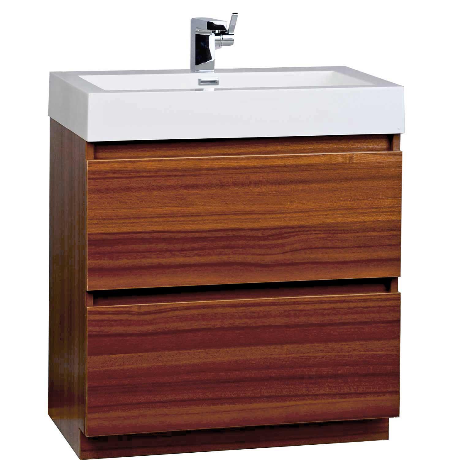 29 5 Inch Contemporary Bathroom Vanity Set in Teak Optional Mirror TN LY750 T