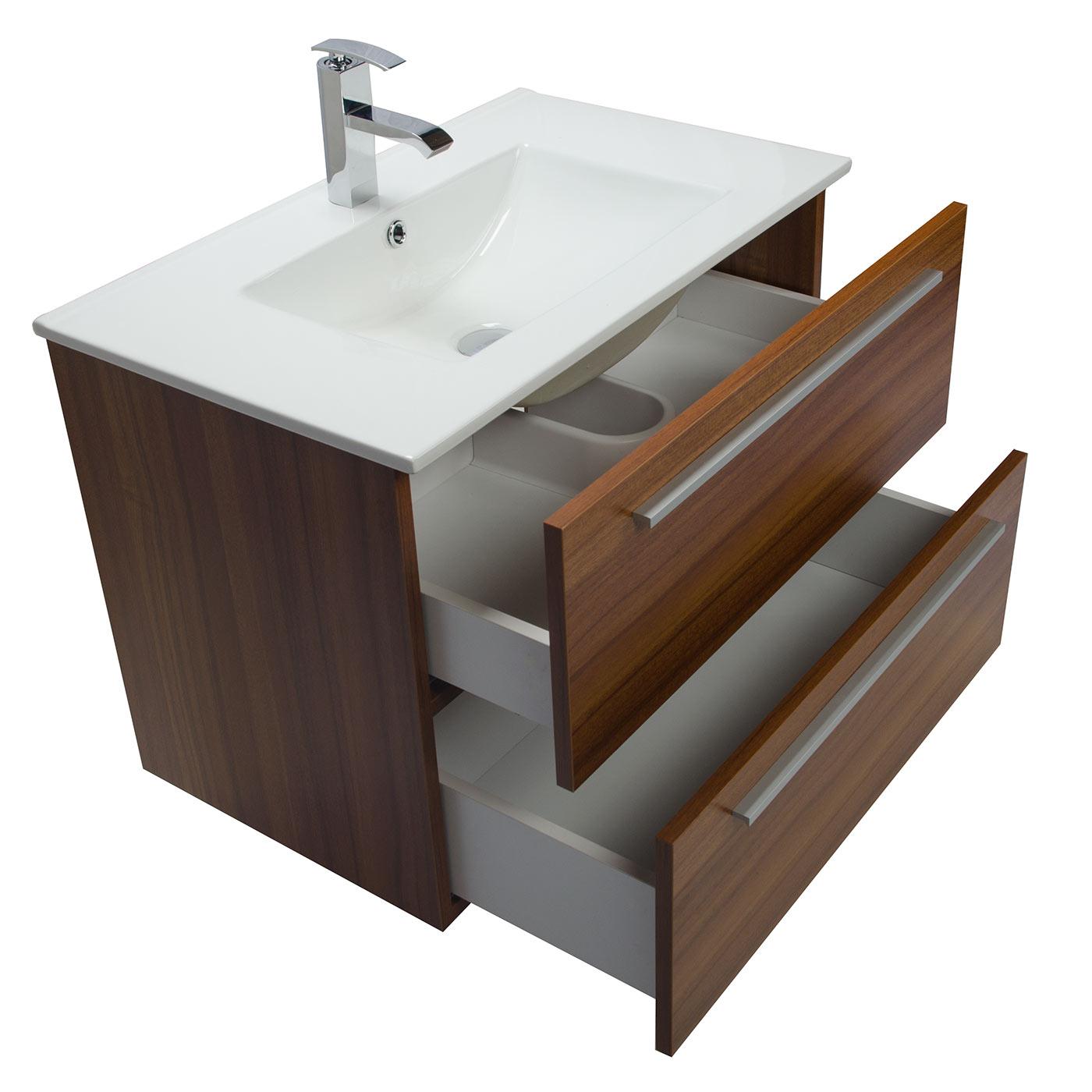 Buy Nola 29 5 Inch Wall Mount Modern Bathroom Vanity Teak TN T750C TK on Conc