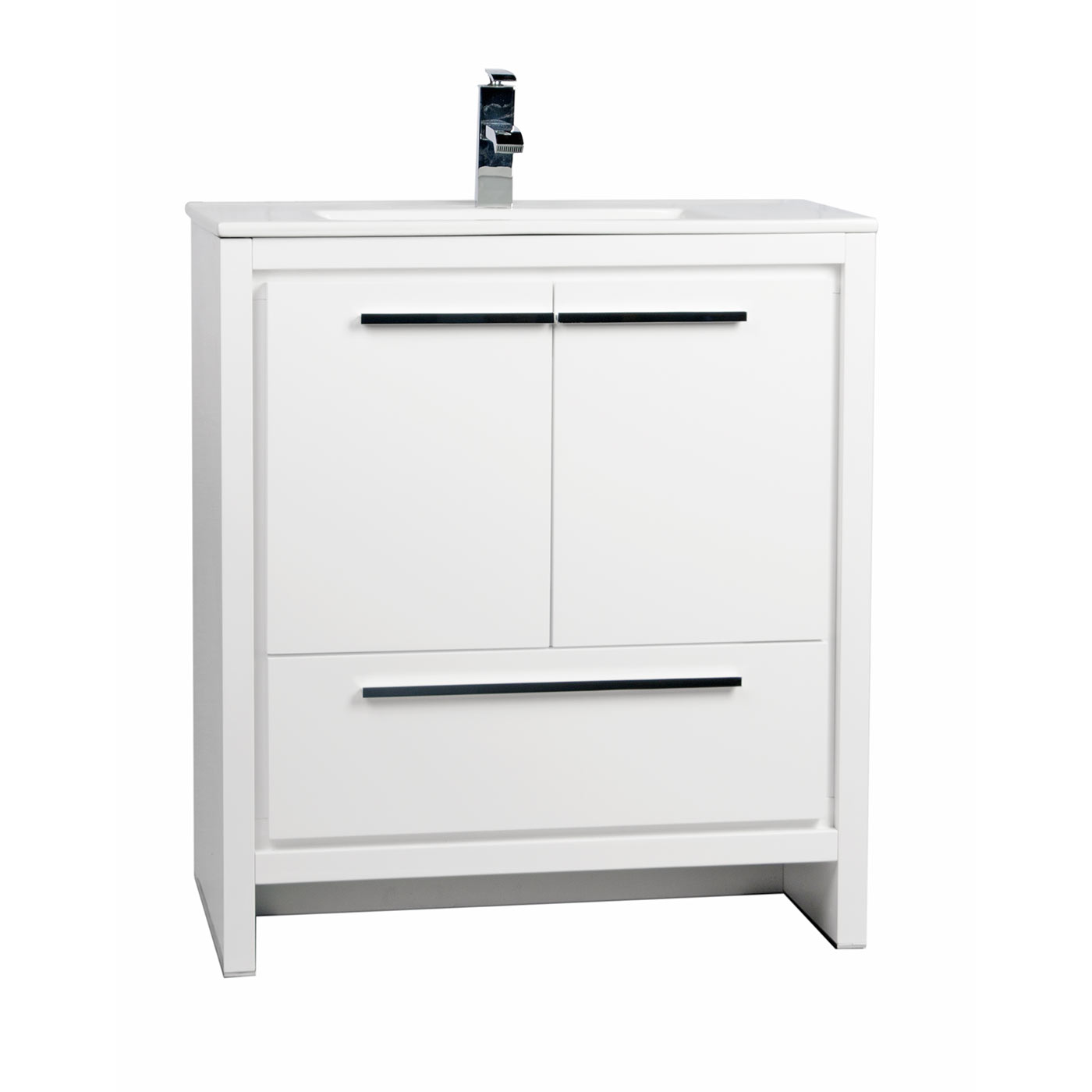 Buy cbi enna 30 inch glossy white modern bathroom vanity for Modern contemporary bathroom vanities