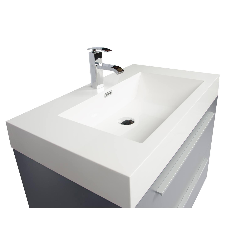 Buy inch wall mount modern bathroom vanity metalic - Wall mount bathroom vanity cabinets ...