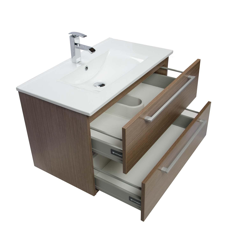Perfect Modern Wall Mount Bathroom Vanity Cbi Walnut RS DM800 WN