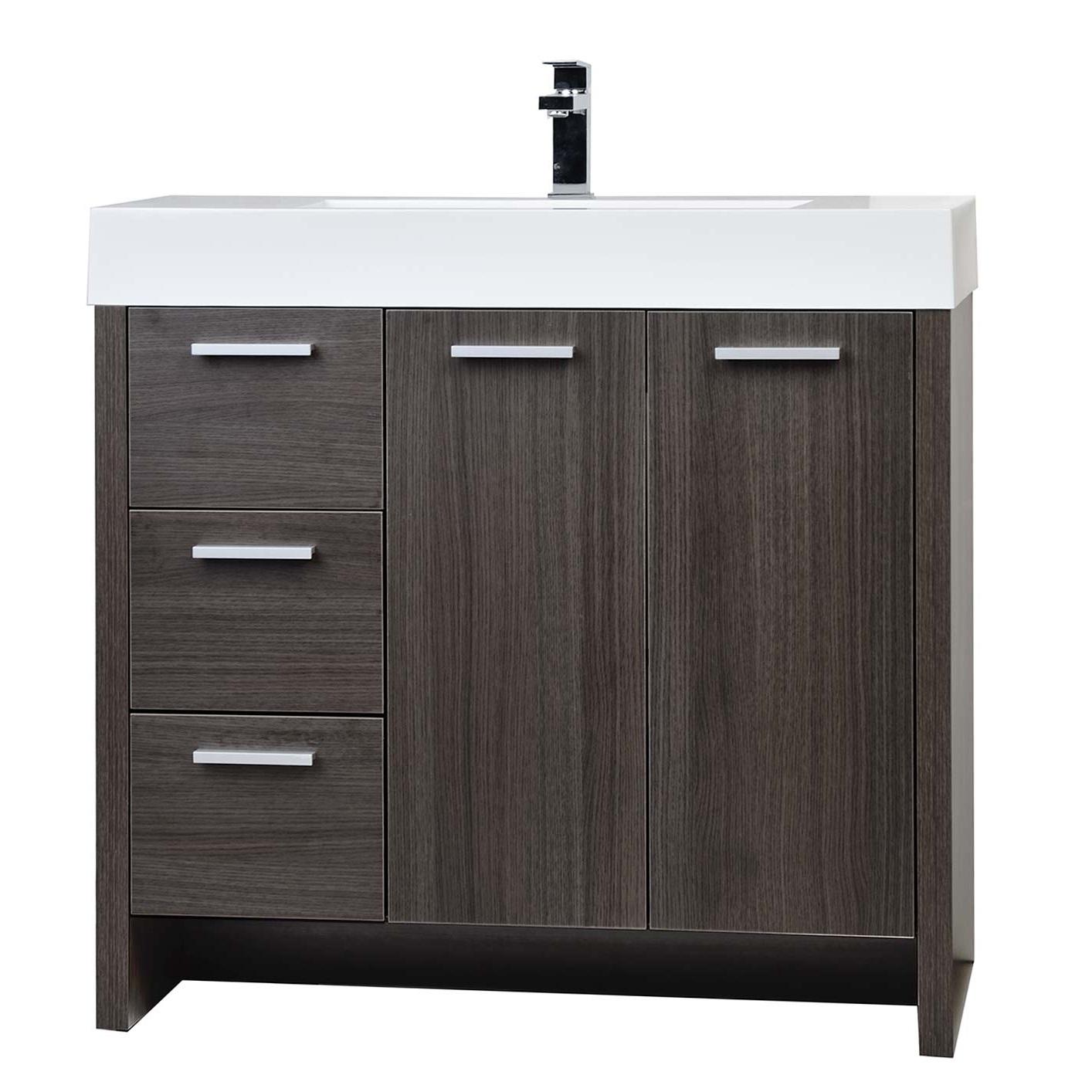 Buy 35 5 modern bathroom vanity grey oak finish tn ly900 for Find bathroom vanities