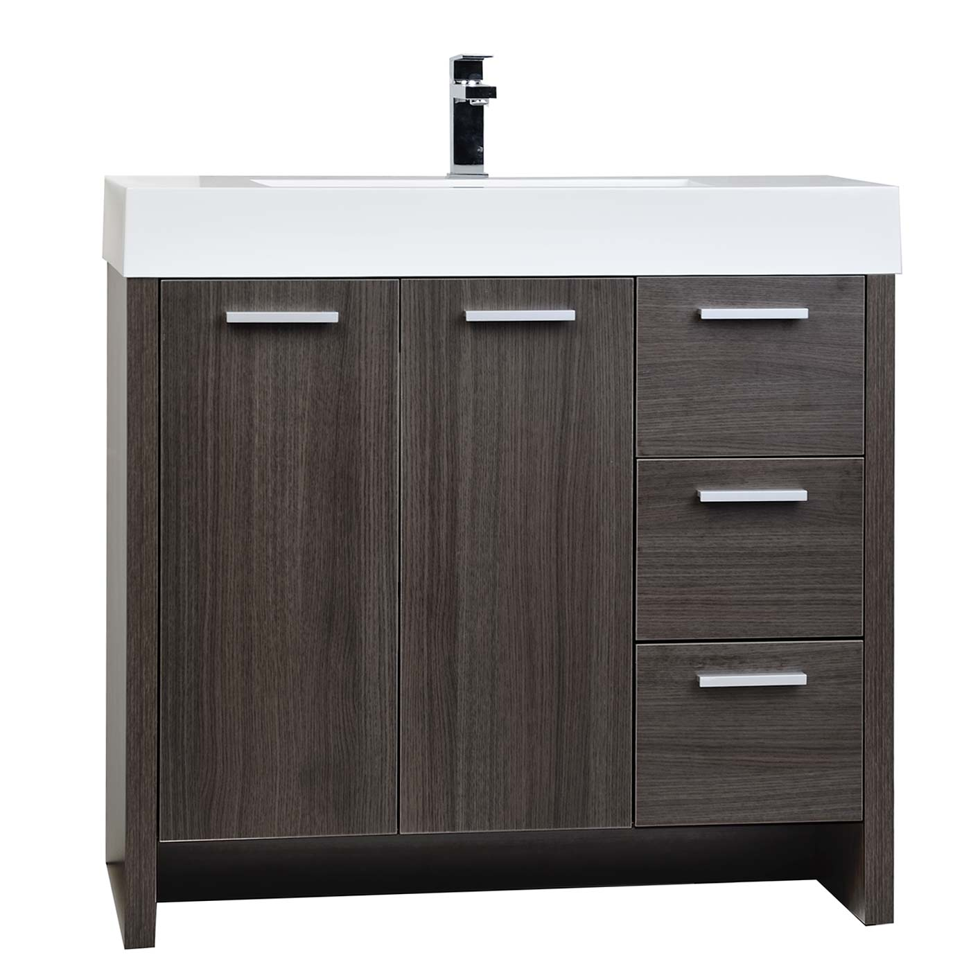 Buy 35 5 modern bathroom vanity grey oak finish tn ly900 for Modern contemporary bathroom vanities