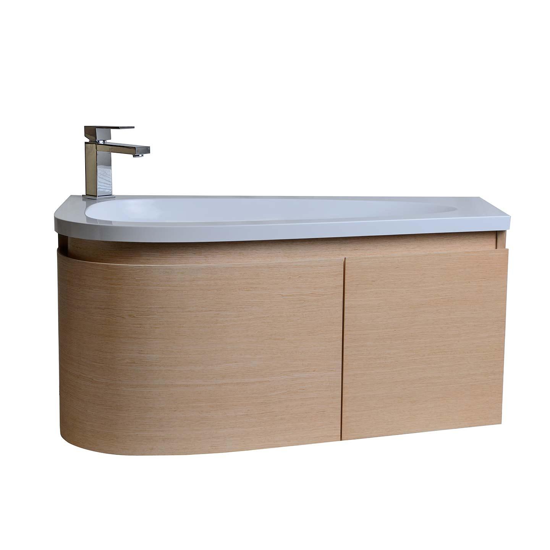 Gingo 35 5 Wall Mount Single Bathroom Vanity White Oak Tn Gk900 Wo