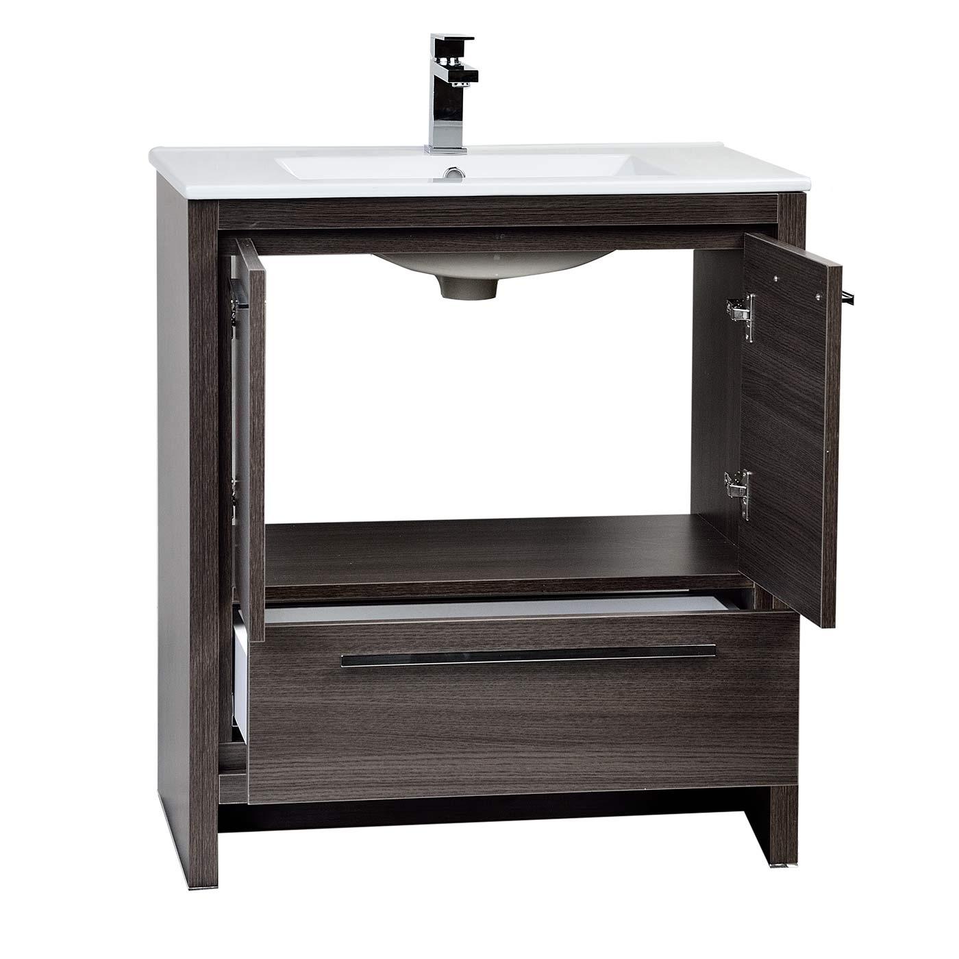 Buy CBI Enna 29 5 Inch Grey Oak Modern Bathroom Vanity TN LA750 GO on ConcepB