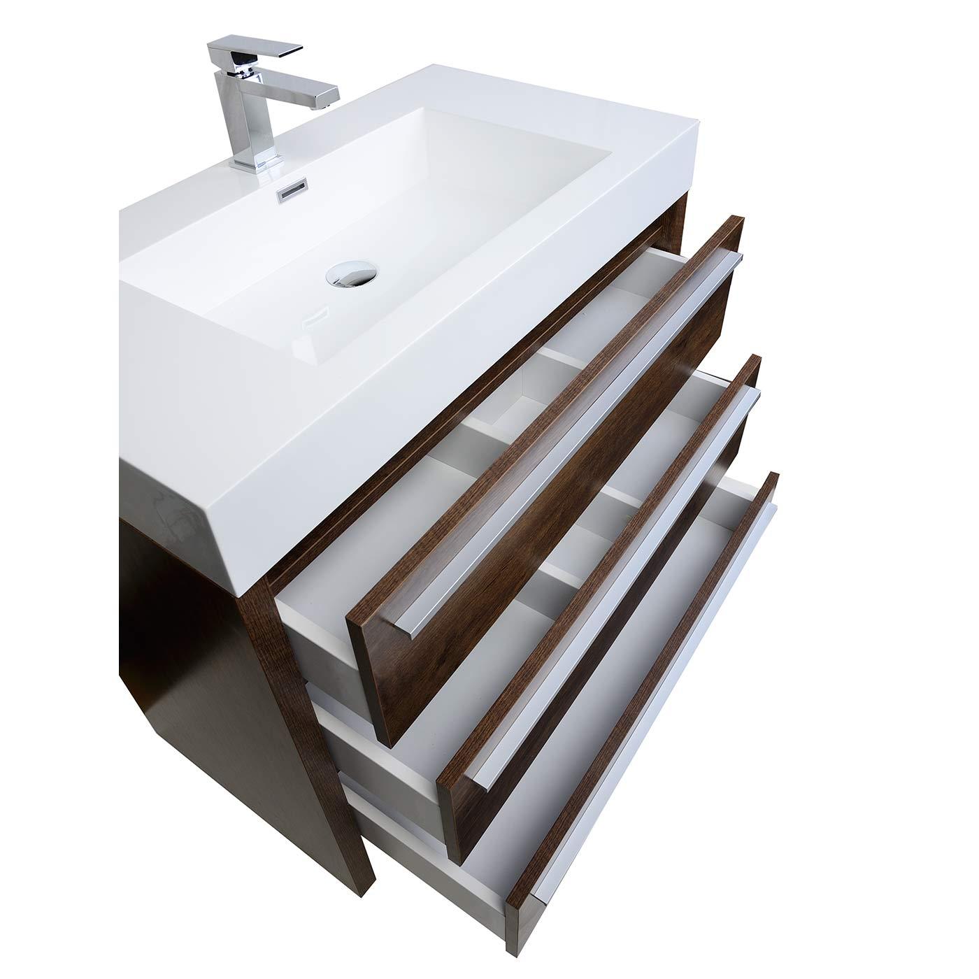 Buy Vinnce Inch Modern Bathroom Vanity In Rosewood TNLXRW - Modern free standing bathroom vanities