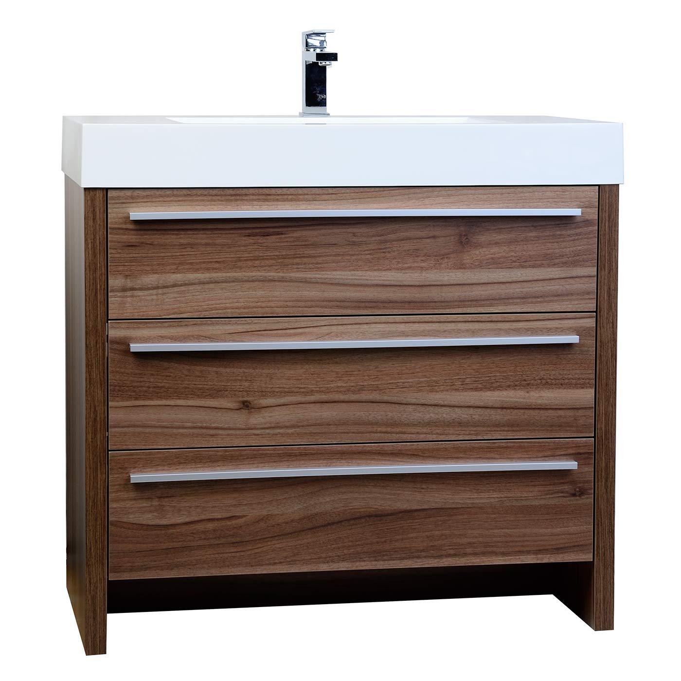 Buy Vinnce 35 5 Modern Bathroom Vanity In Walnut Tn Lx900 Wn On Conceptbaths Com