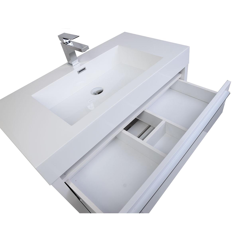 Buy Vinnce 35.5 Inch Modern Bathroom Vanity in Gloss White TN-LX900 ...