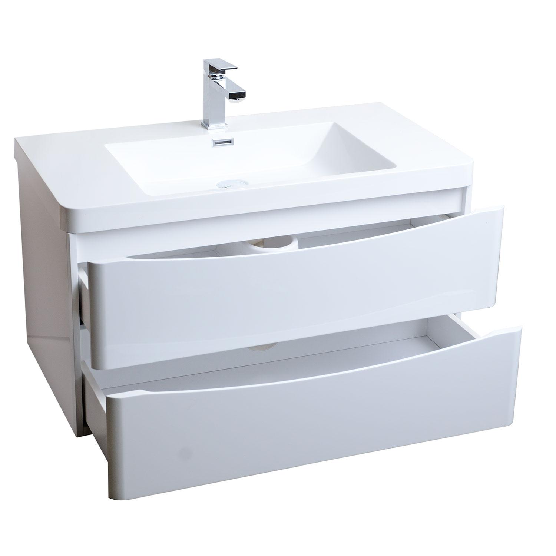Buy merida 35 5 inch wall mount bathroom vanity in gloss - Wall mount bathroom vanity cabinets ...