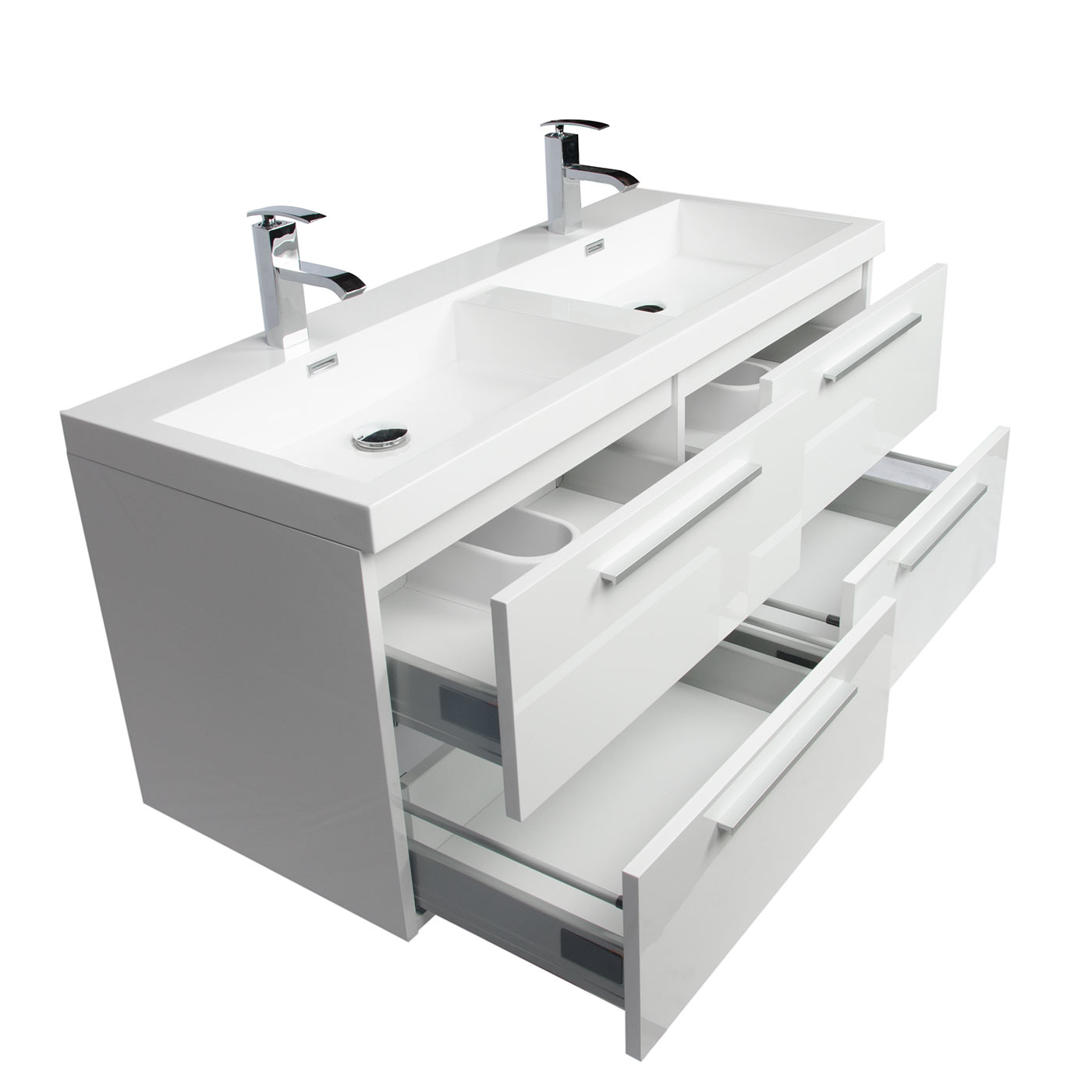 Buy 47 Inch Wall Mounted Modern Double Bathroom Vanity High Gloss White  Tnt1200dhgw On Conceptbaths