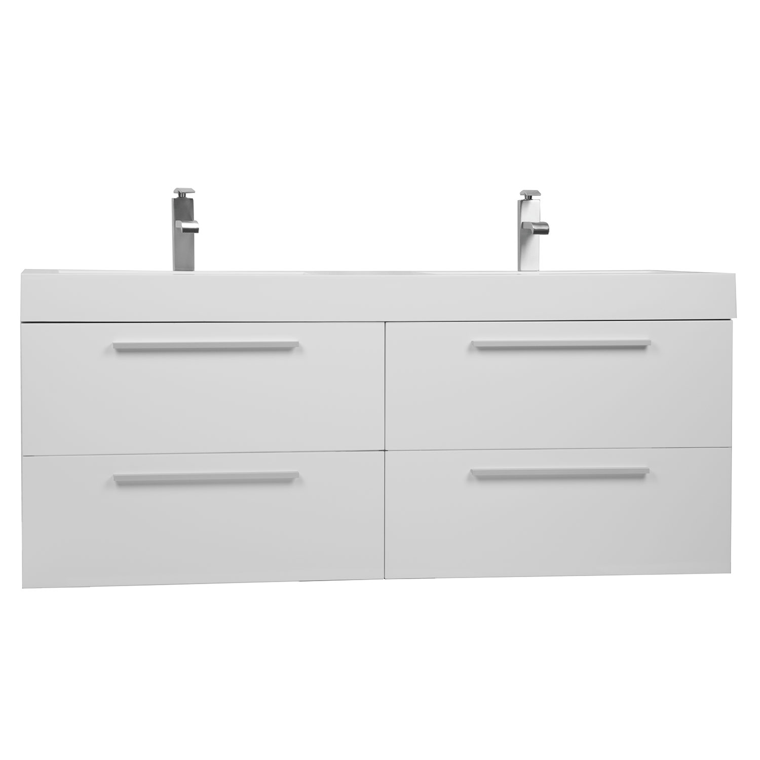 Buy  Inch Modern Doublesink Vanity Set With Drawers Gloss White - 54 double sink vanity